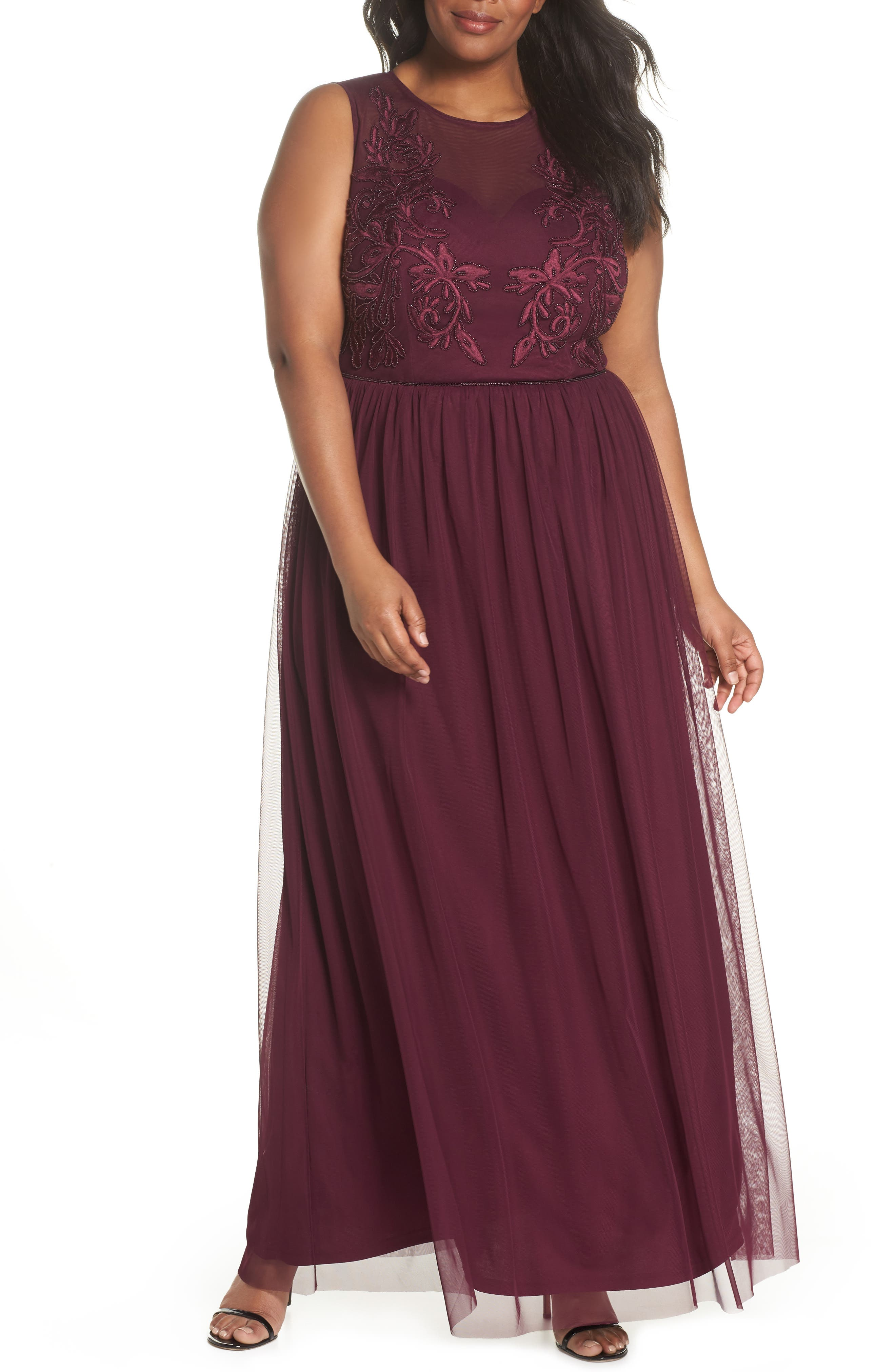 Beaded Gown,                             Main thumbnail 1, color,                             Cabernet