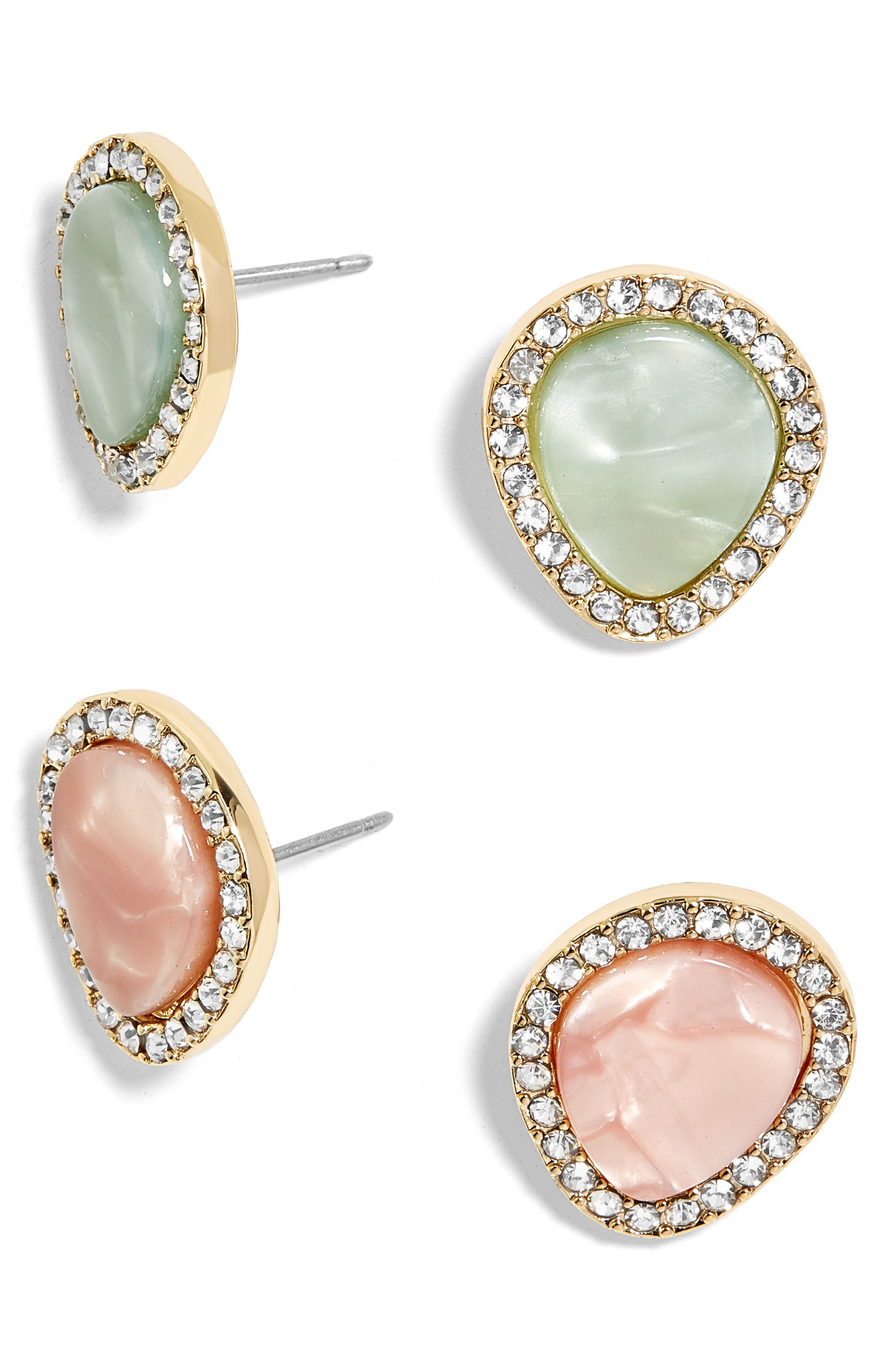 Set of 2 Crystal Encrusted Stud Earrings,                             Main thumbnail 1, color,                             Blush/ Mint