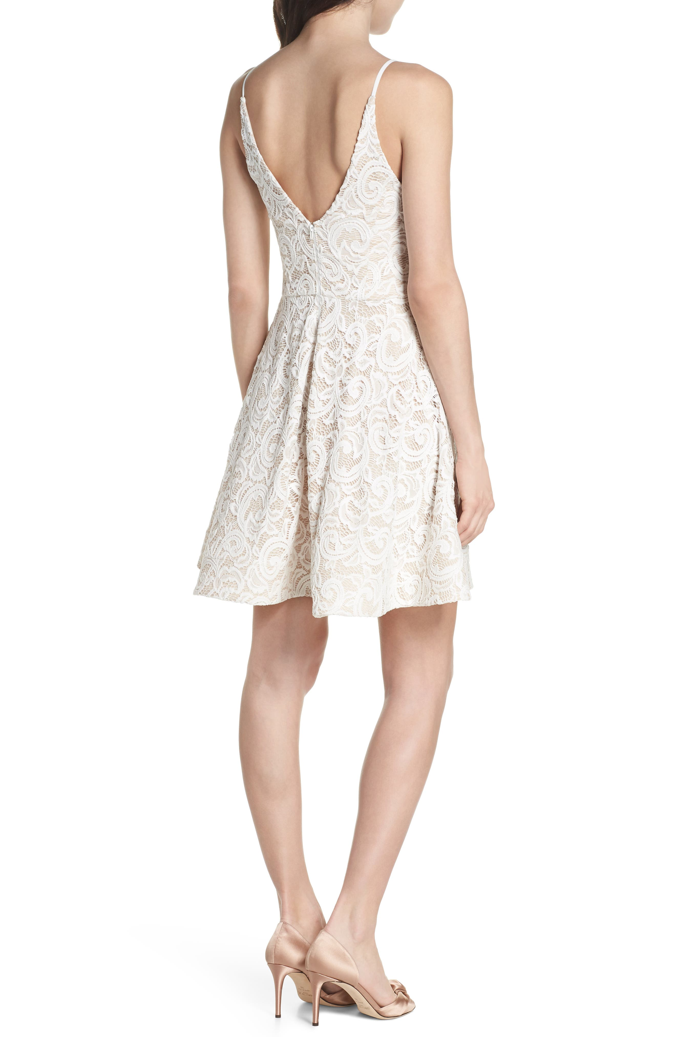 Illusion Lace Fit & Flare Dress,                             Alternate thumbnail 2, color,                             Ivory/ Nude