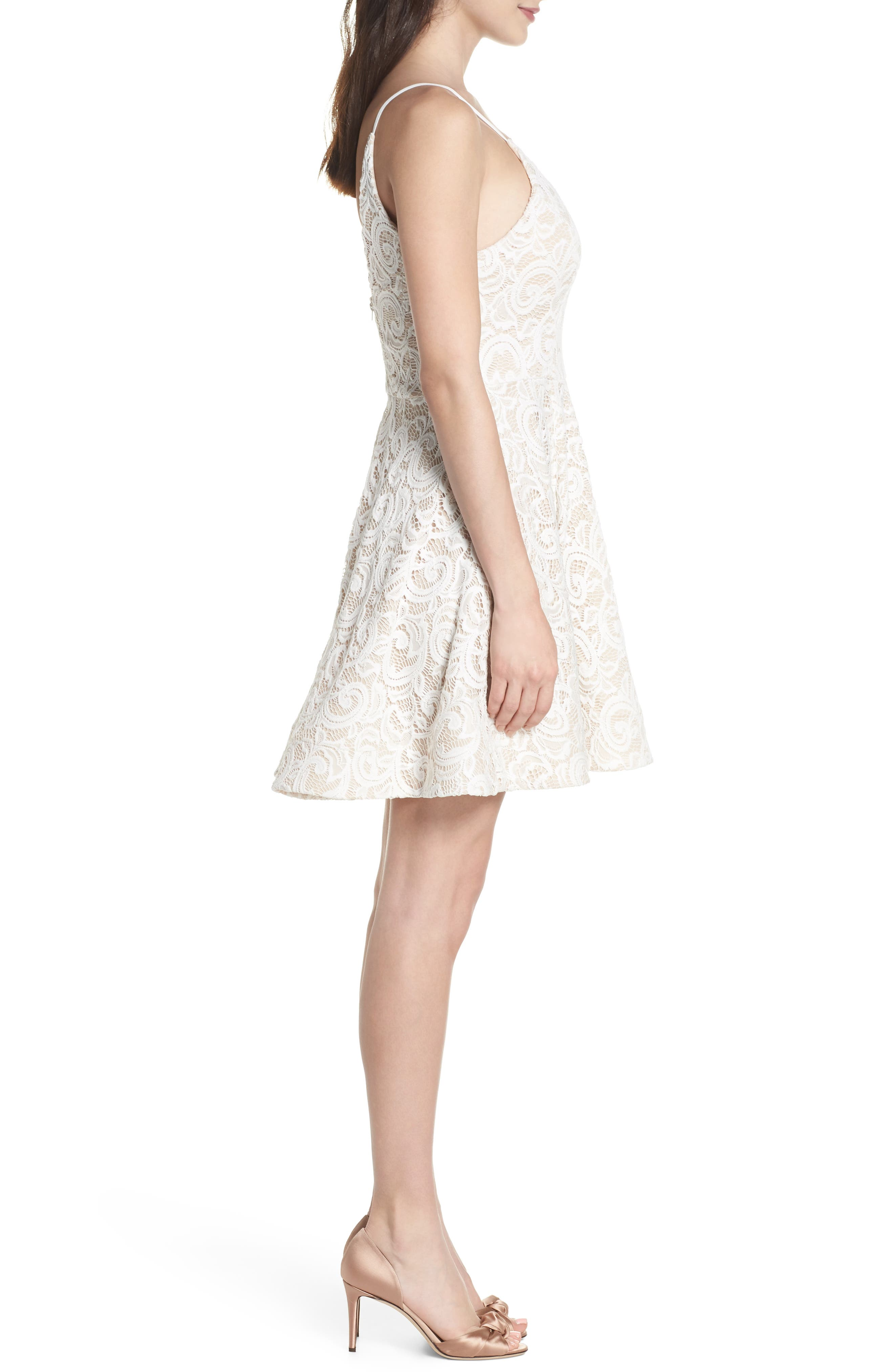Illusion Lace Fit & Flare Dress,                             Alternate thumbnail 3, color,                             Ivory/ Nude
