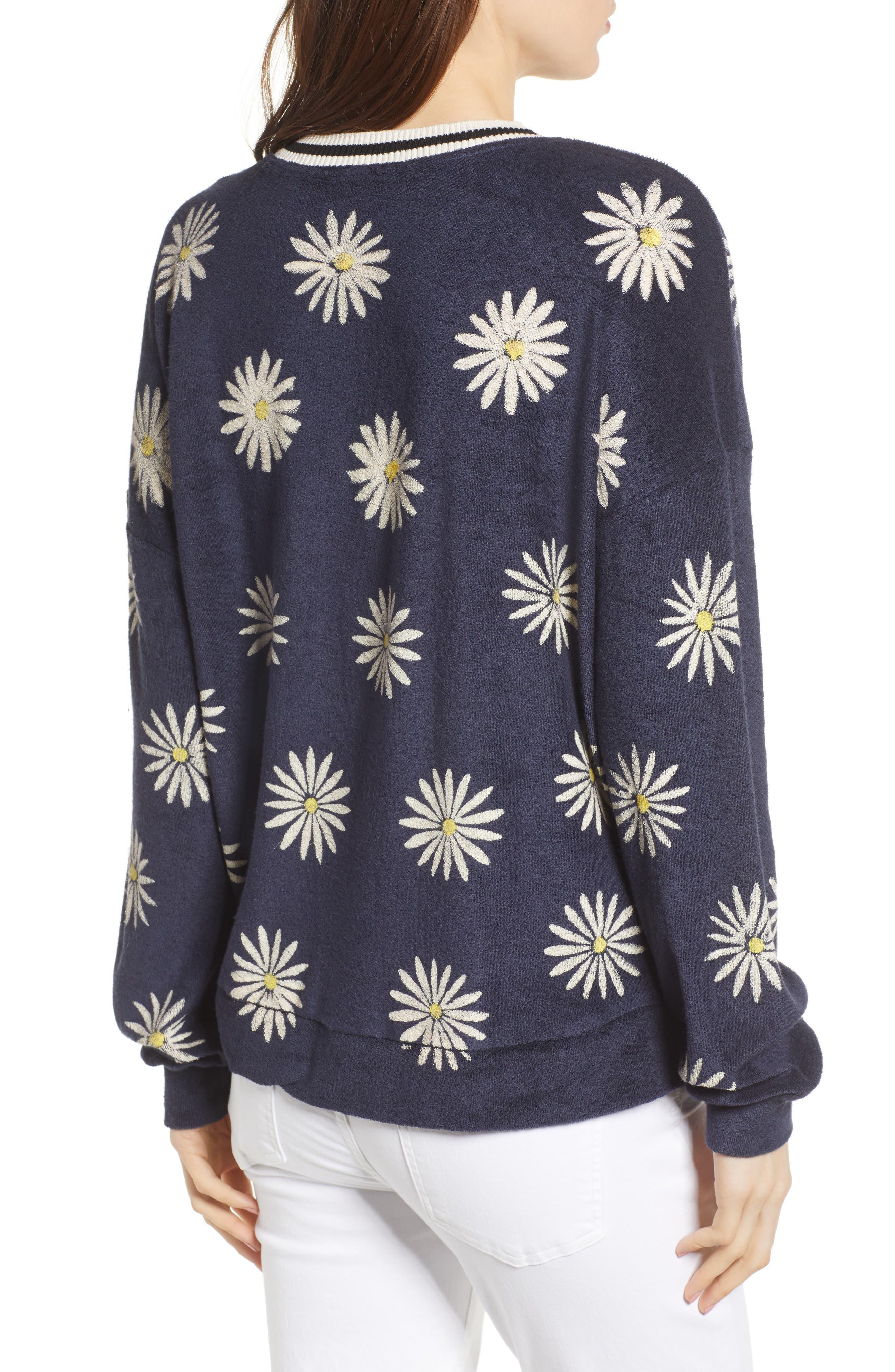 x Margherita Fiore Daisy Sweatshirt,                             Alternate thumbnail 3, color,                             Navy