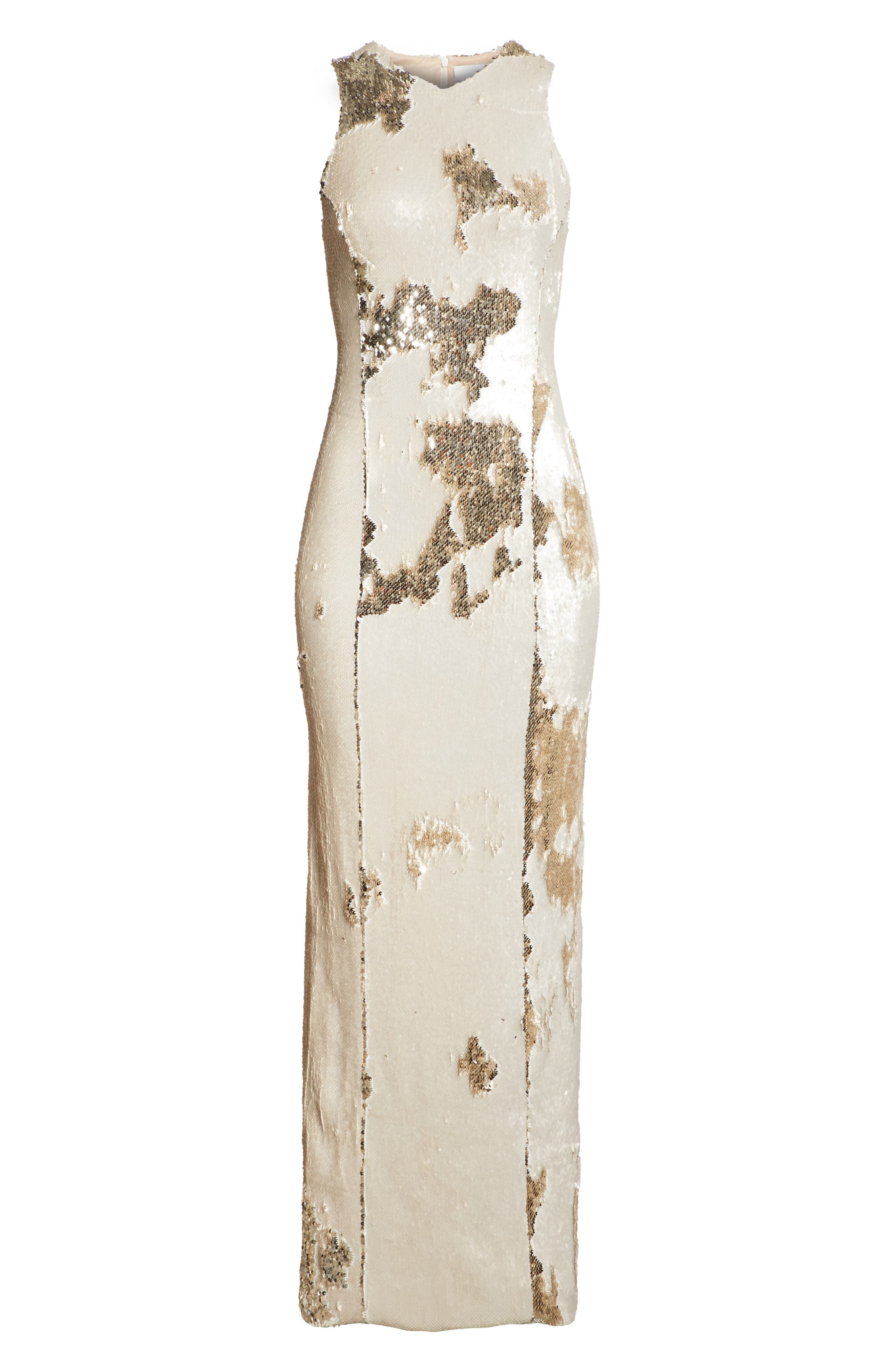 Sequin Column Gown,                             Alternate thumbnail 7, color,                             Nude Light Gold