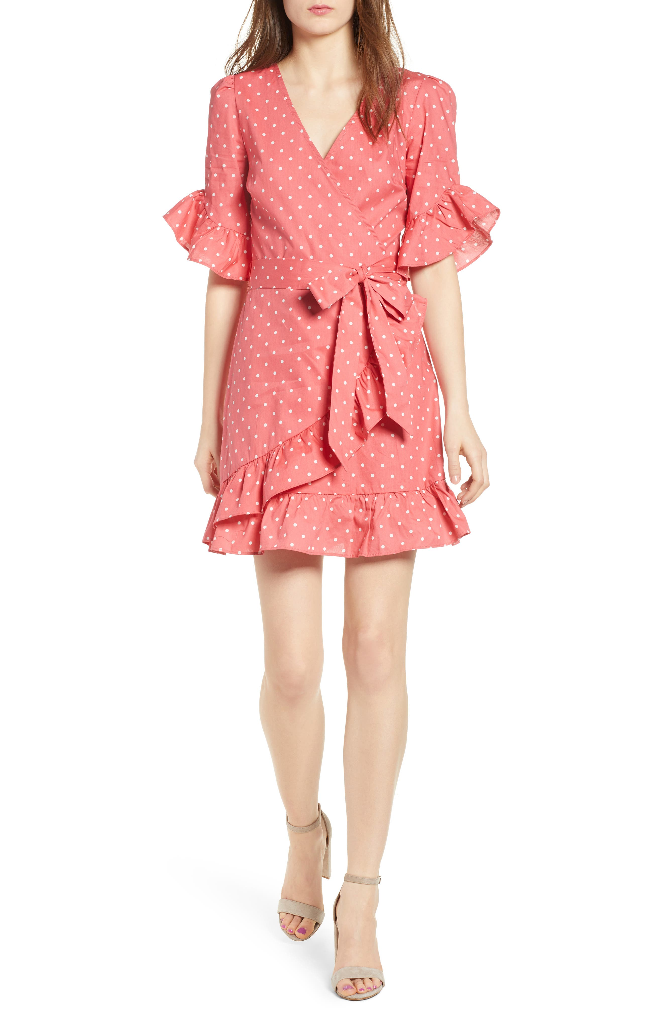 Ruffle Faux Wrap Dress,                         Main,                         color, Red