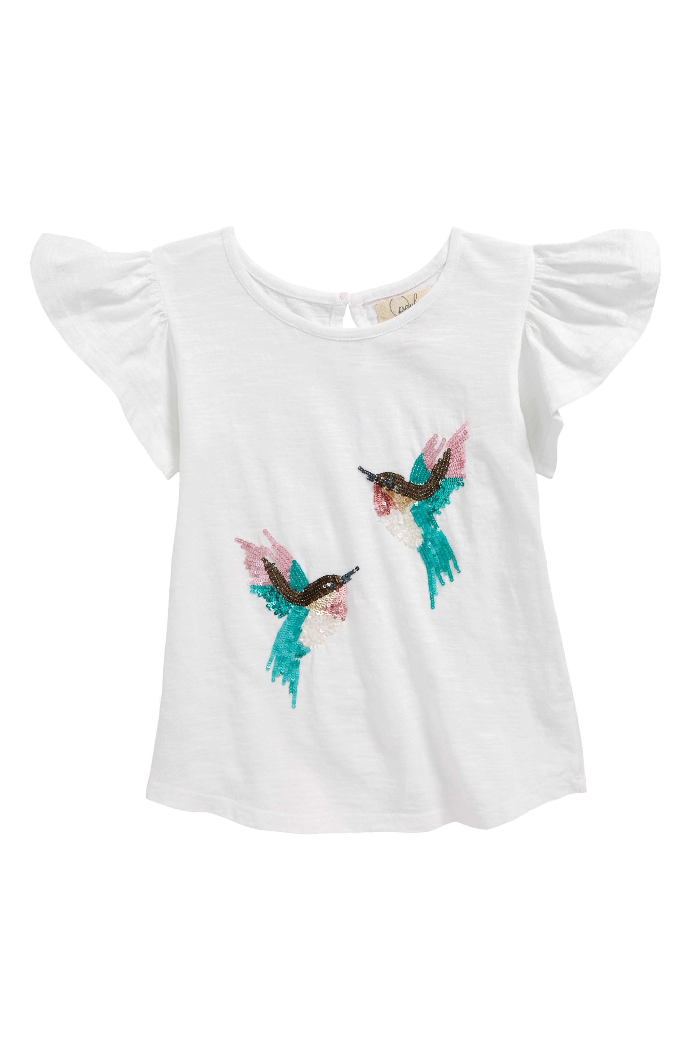 Sequin Hummingbird Tee,                         Main,                         color, Stone