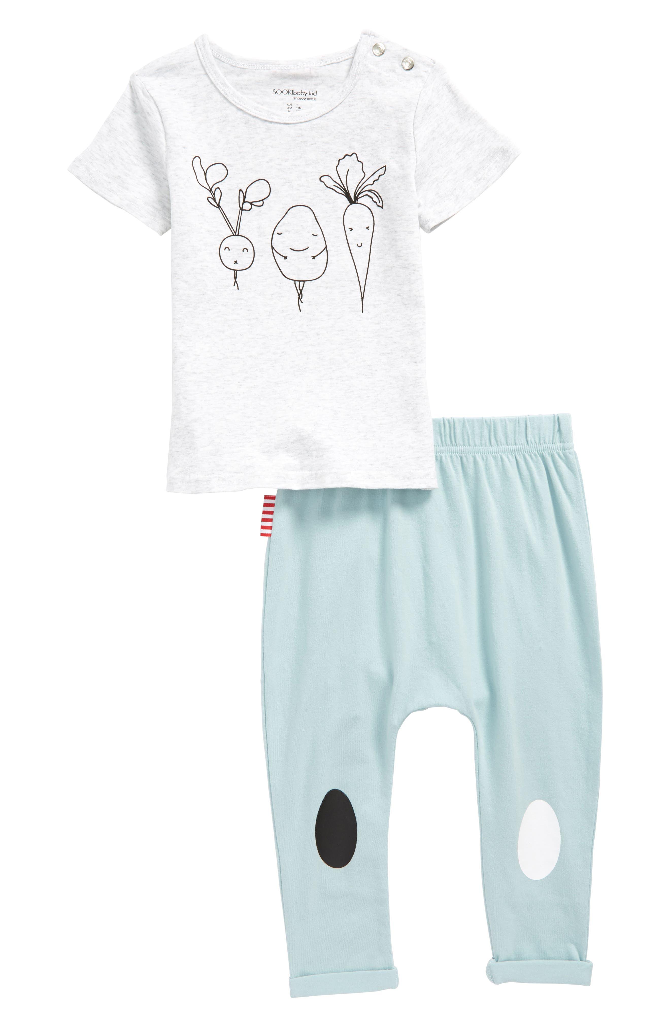 Brunch T-Shirt & Pants Set,                             Main thumbnail 1, color,                             Grey/ Mint