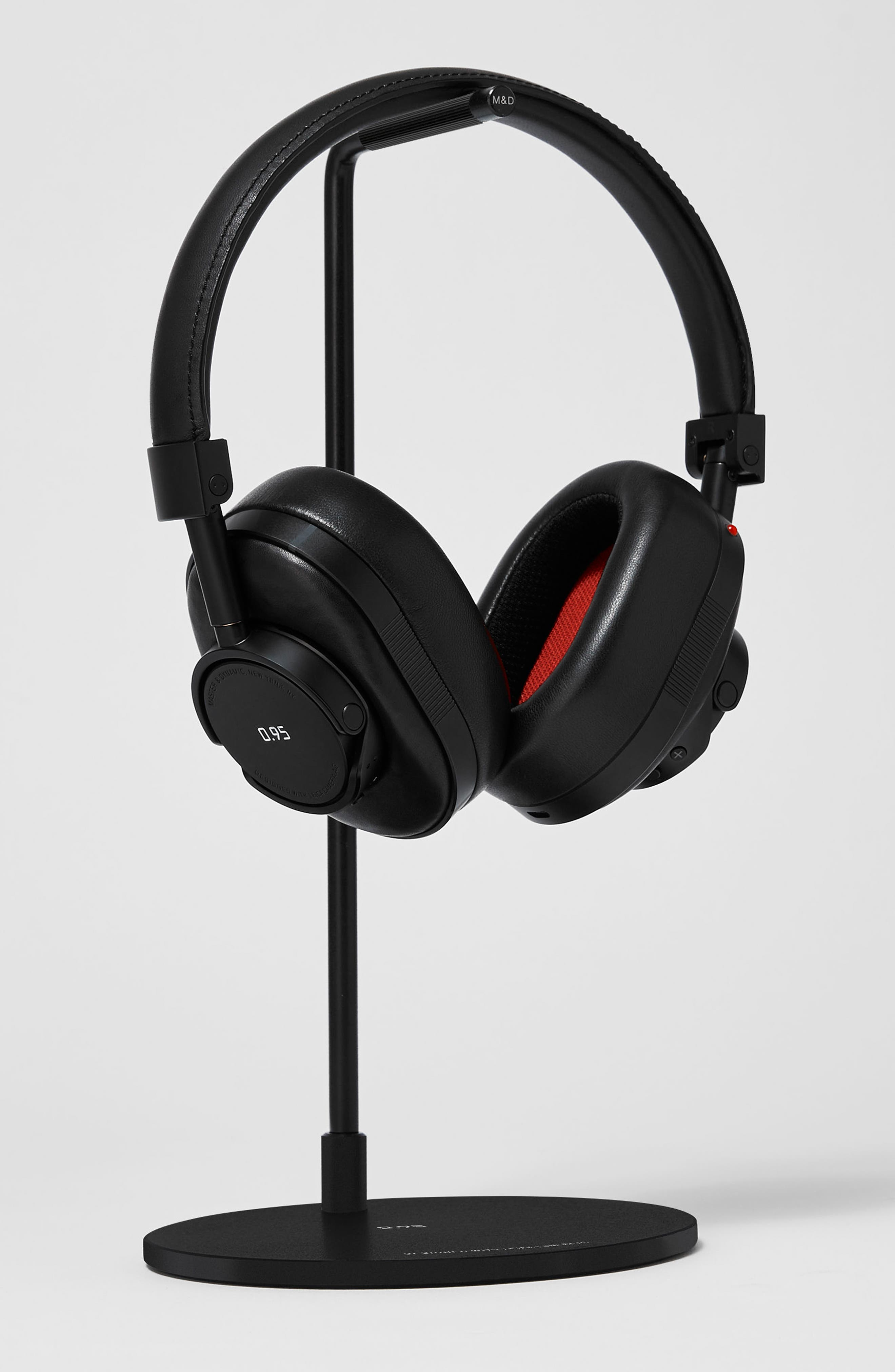 MW60 Wireless Leather Over Ear Headphones,                             Alternate thumbnail 4, color,                             Black/ Black/ Red