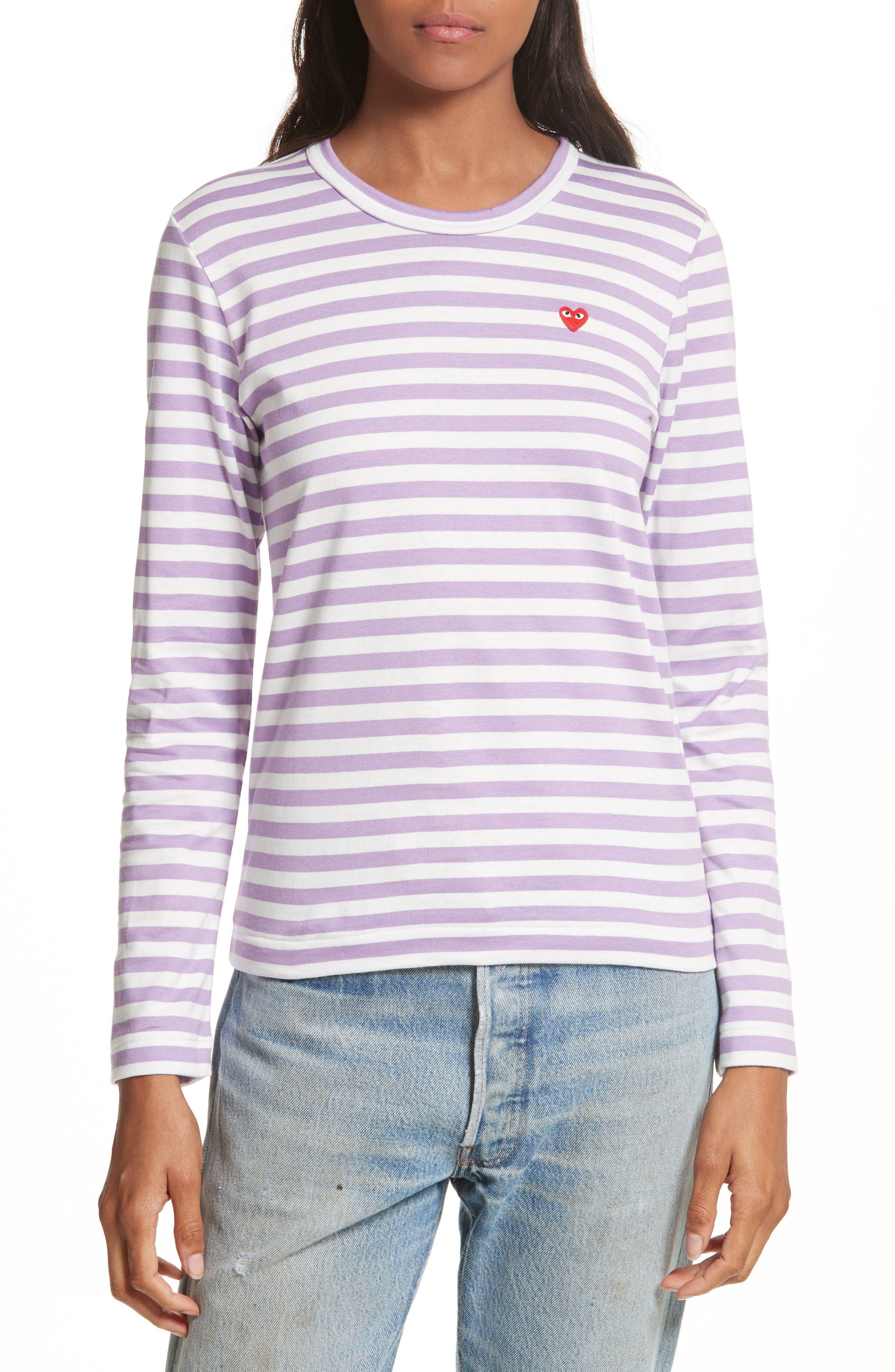 Comme des Garçons PLAY Stripe Tee,                             Main thumbnail 1, color,                             Purple
