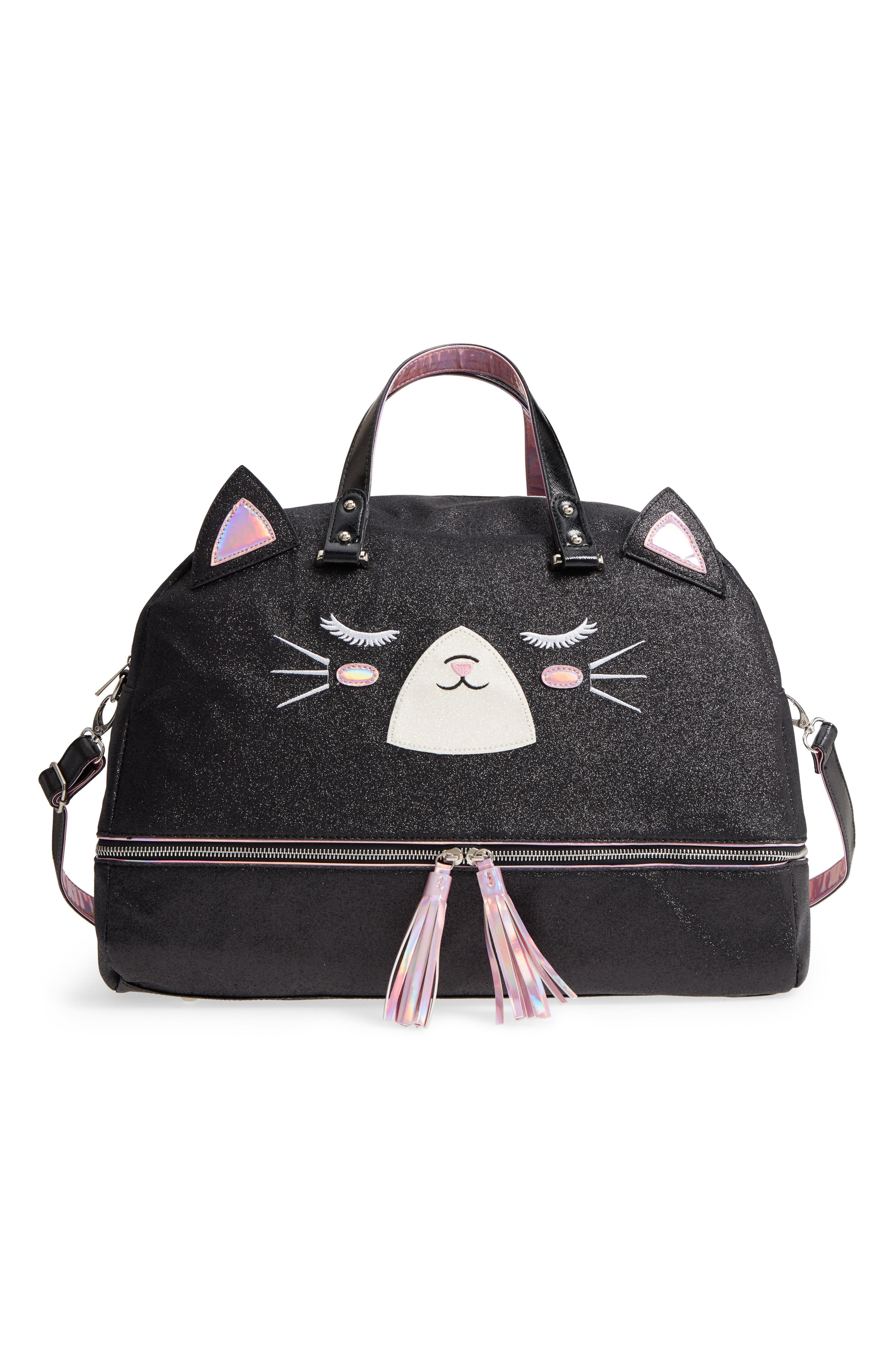 Duffel Bag,                             Main thumbnail 1, color,                             Black Kitty