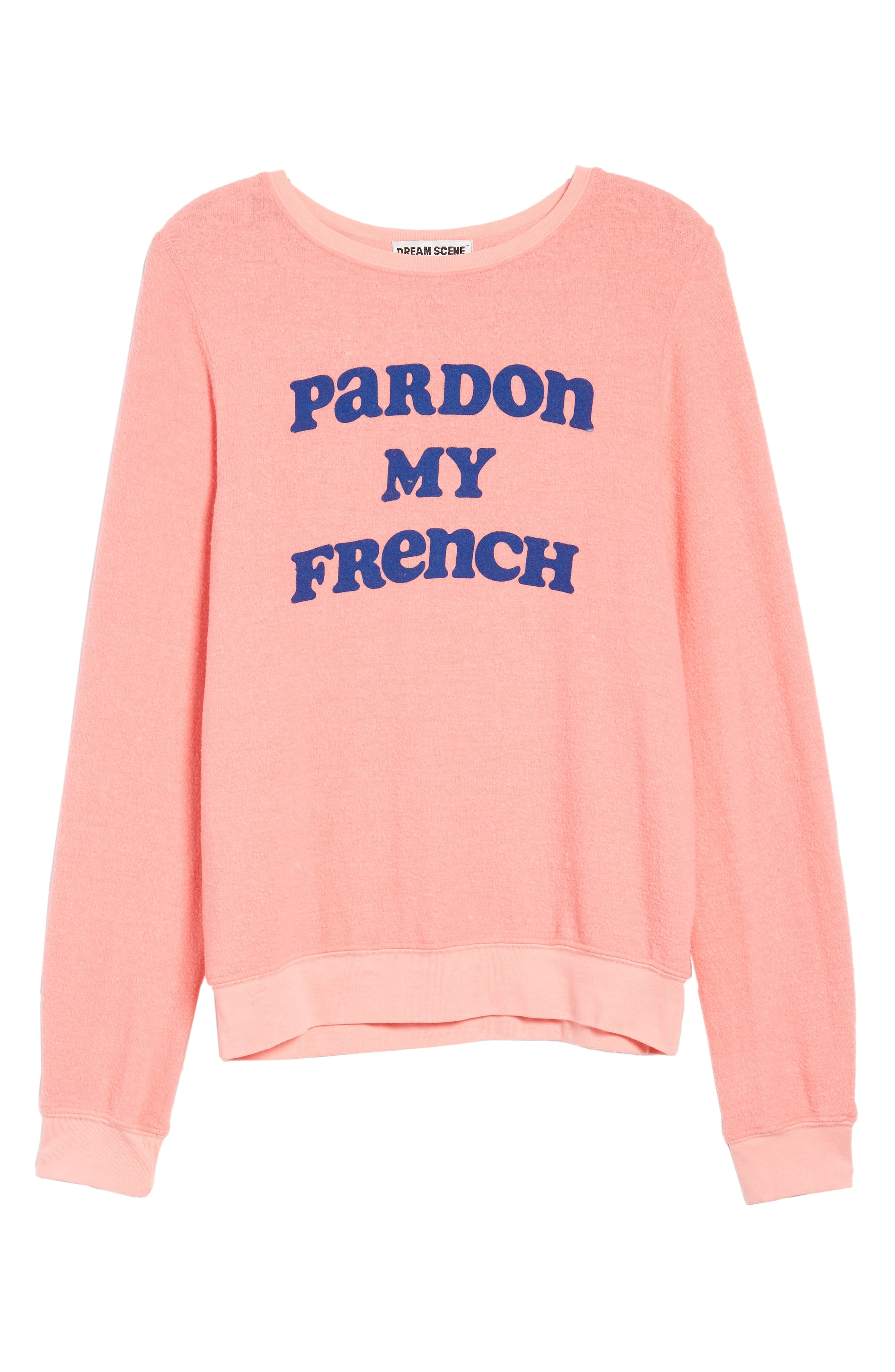 Pardon My French Sweatshirt,                             Alternate thumbnail 7, color,                             Peach Crush