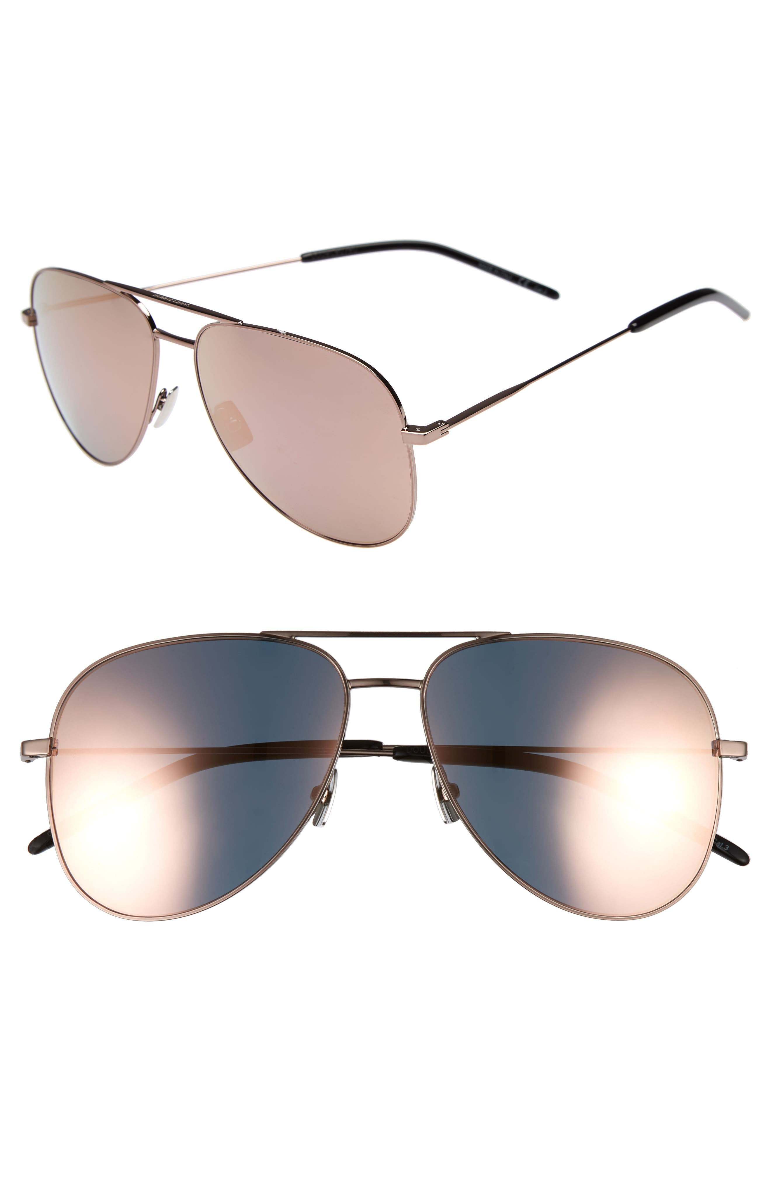 Saint Laurent Classic 11 59mm Aviator Sunglasses