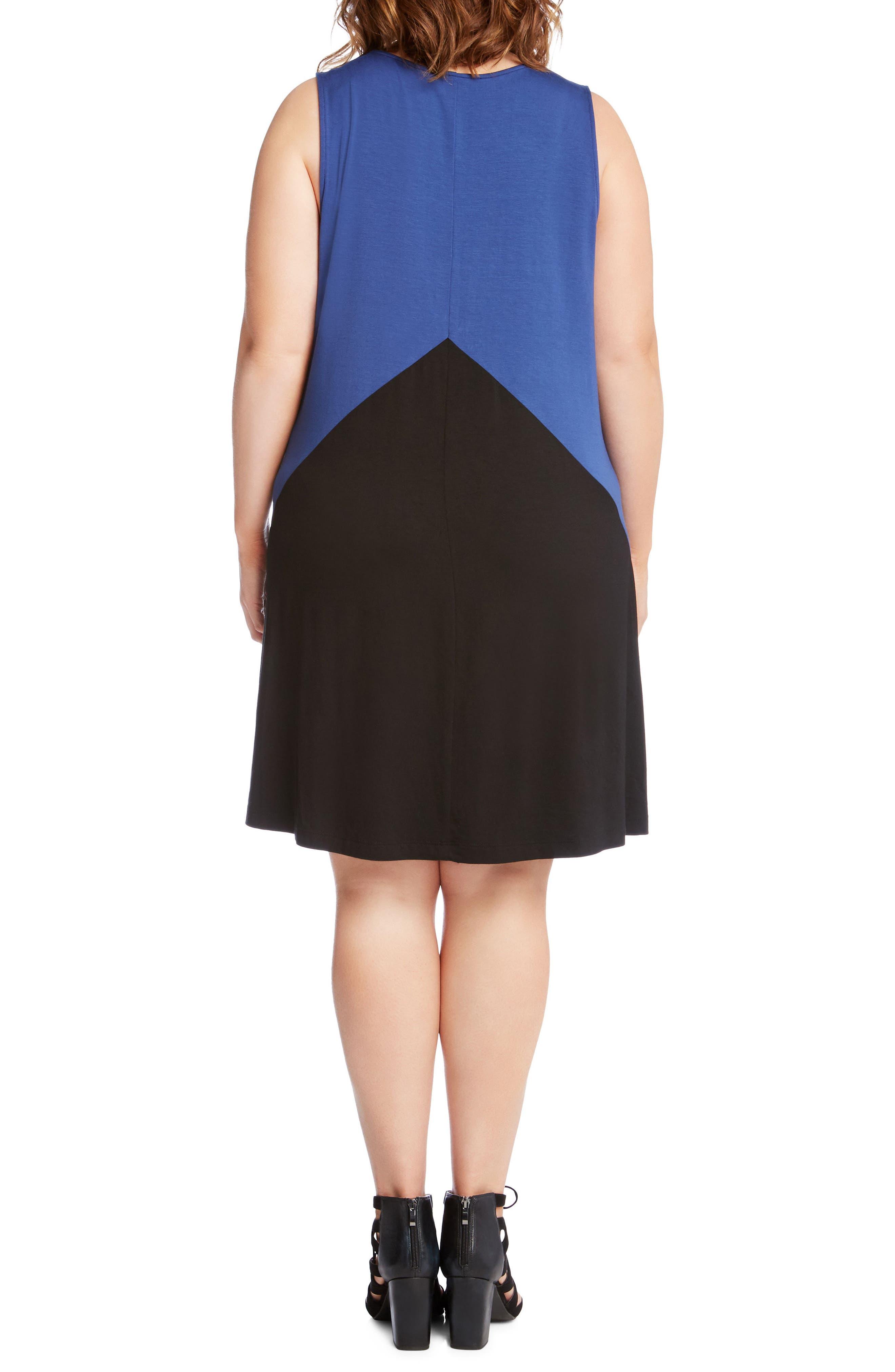 Colorblock Shift Dress,                             Alternate thumbnail 2, color,                             Blue With Black