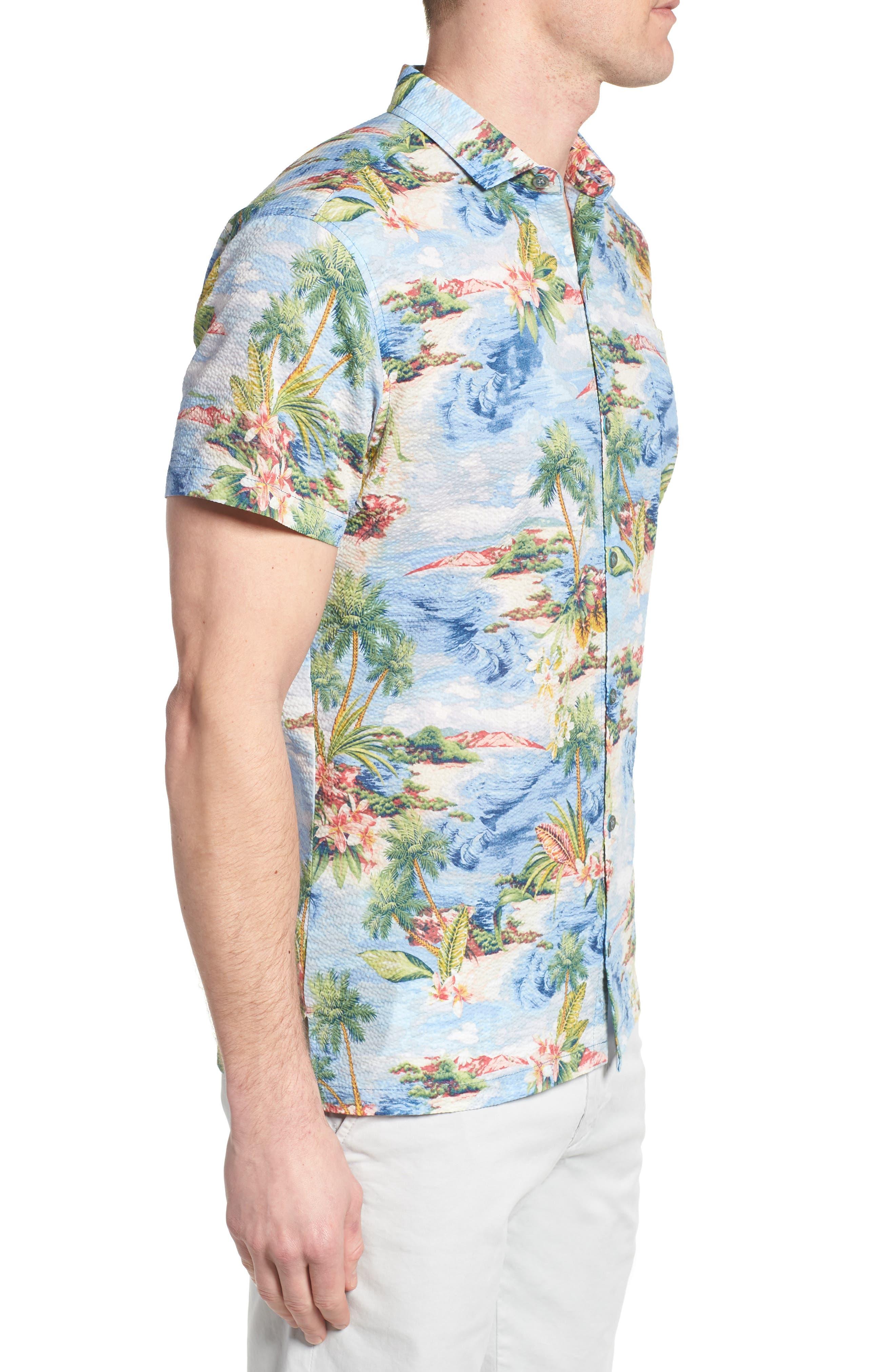 Private Isle Trim Fit Camp Shirt,                             Alternate thumbnail 4, color,                             Wave