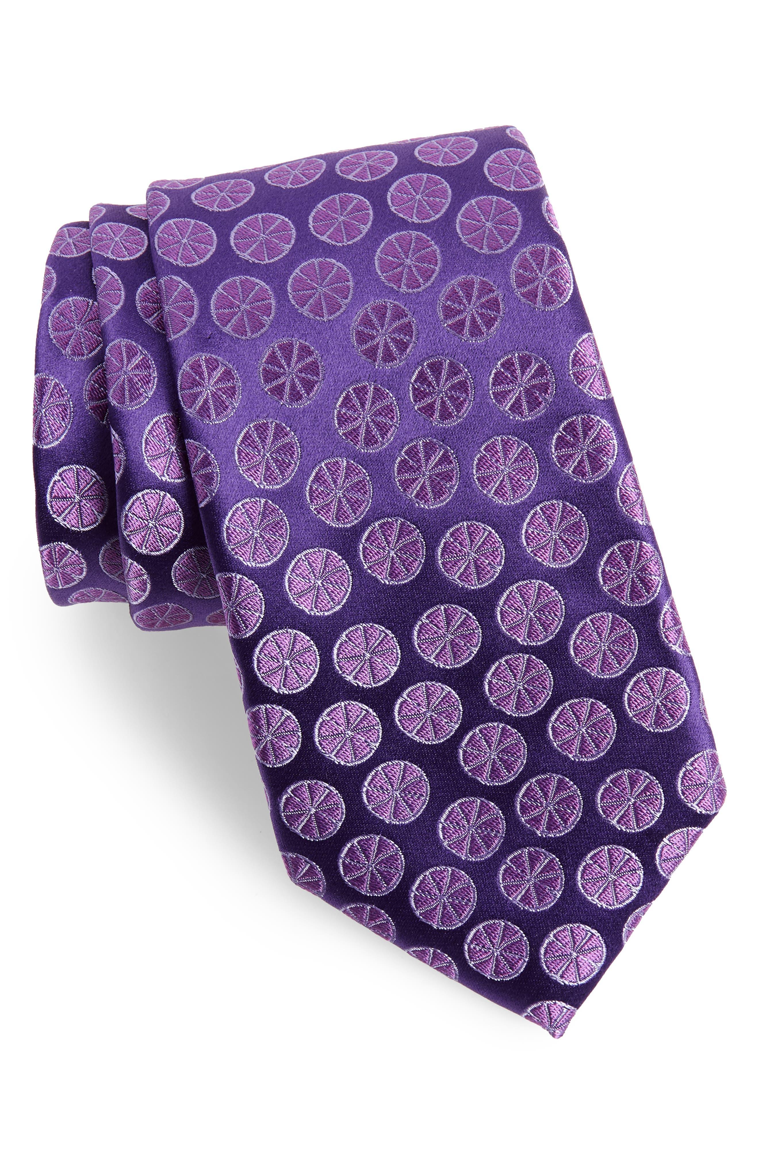 Summer Slices Medallion Silk Tie,                             Main thumbnail 1, color,                             Purple