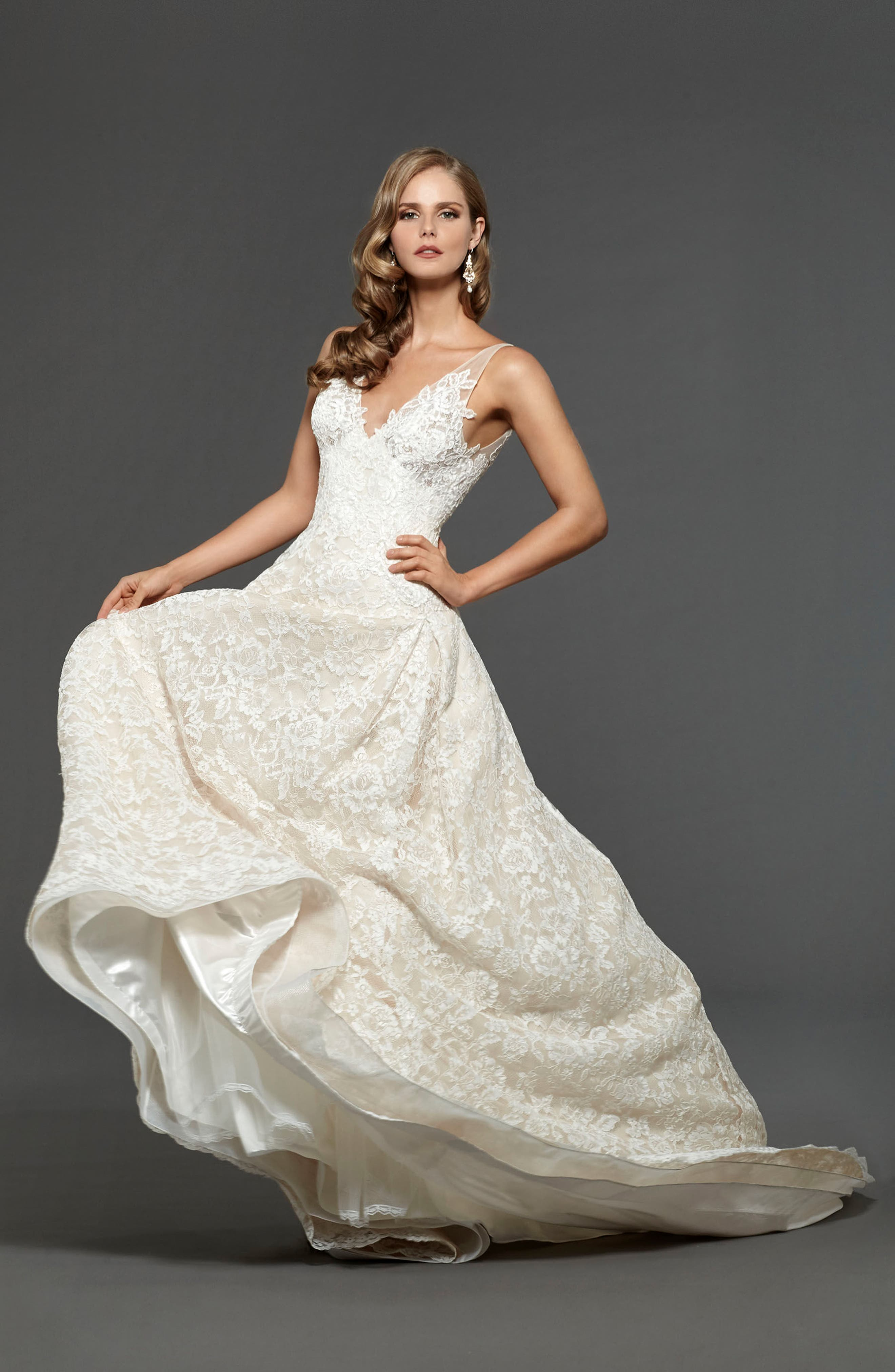 Suzanna Allover Lace Gown,                             Alternate thumbnail 5, color,                             Off White Nude