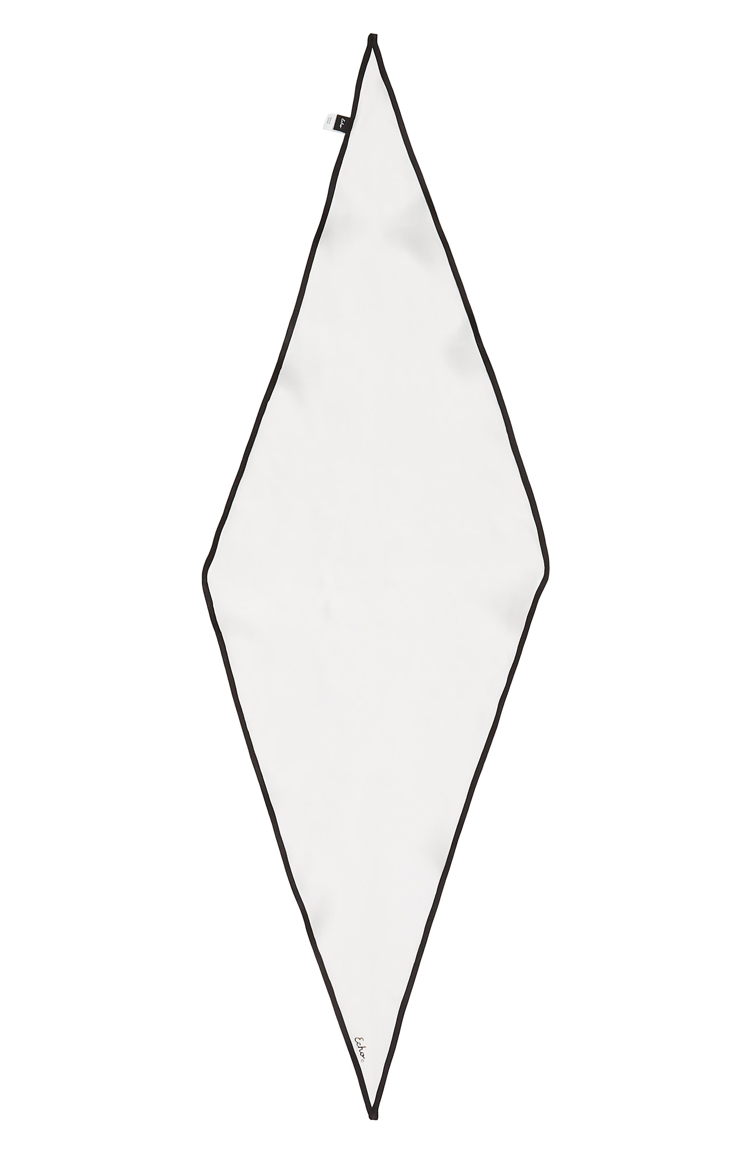 Contrast Edge Diamond Cut Silk Scarf,                             Alternate thumbnail 3, color,                             White