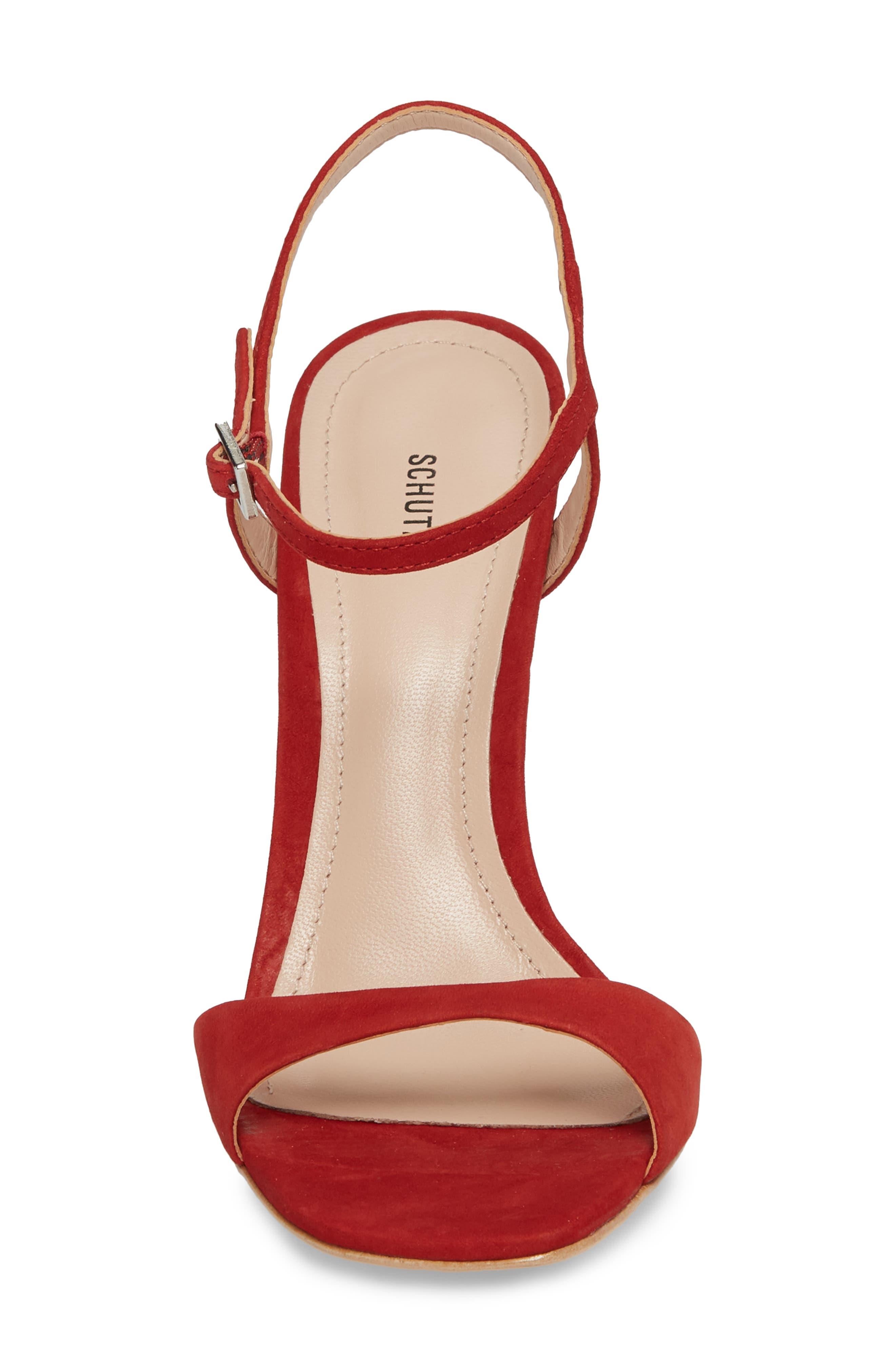 Jade Ankle Strap Sandal,                             Alternate thumbnail 4, color,                             Tango Red