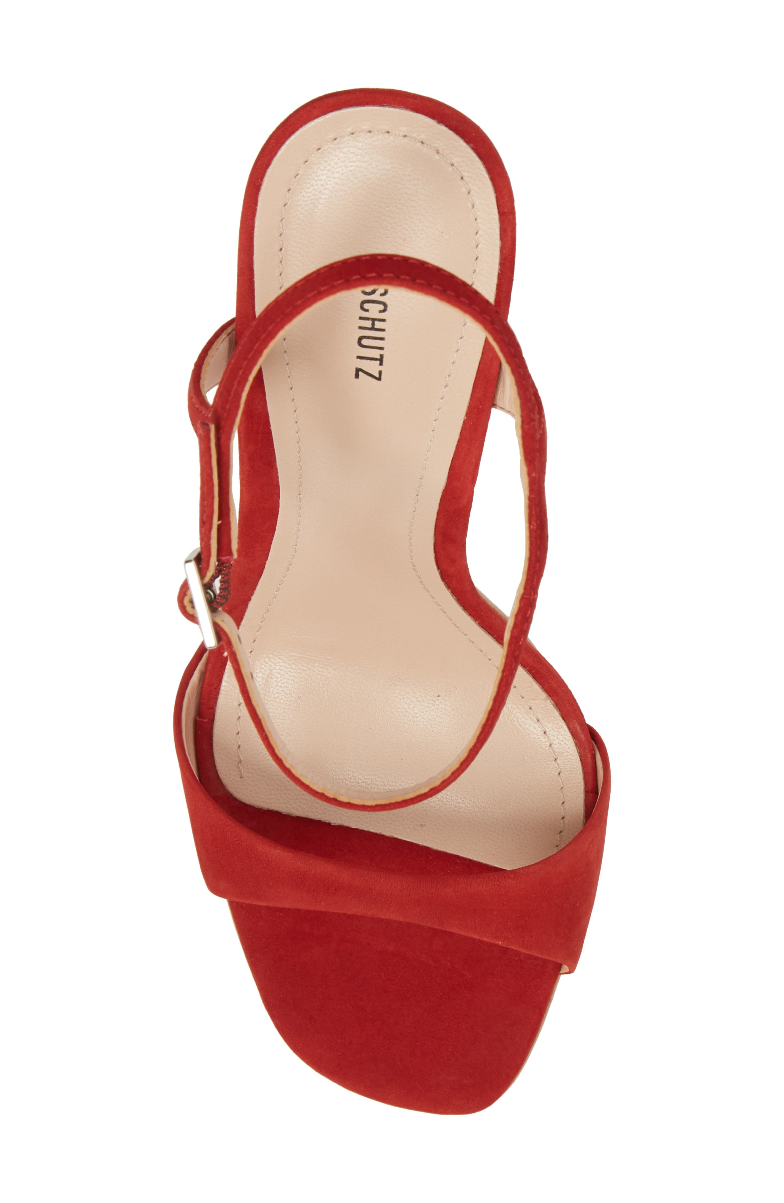 Jade Ankle Strap Sandal,                             Alternate thumbnail 5, color,                             Tango Red