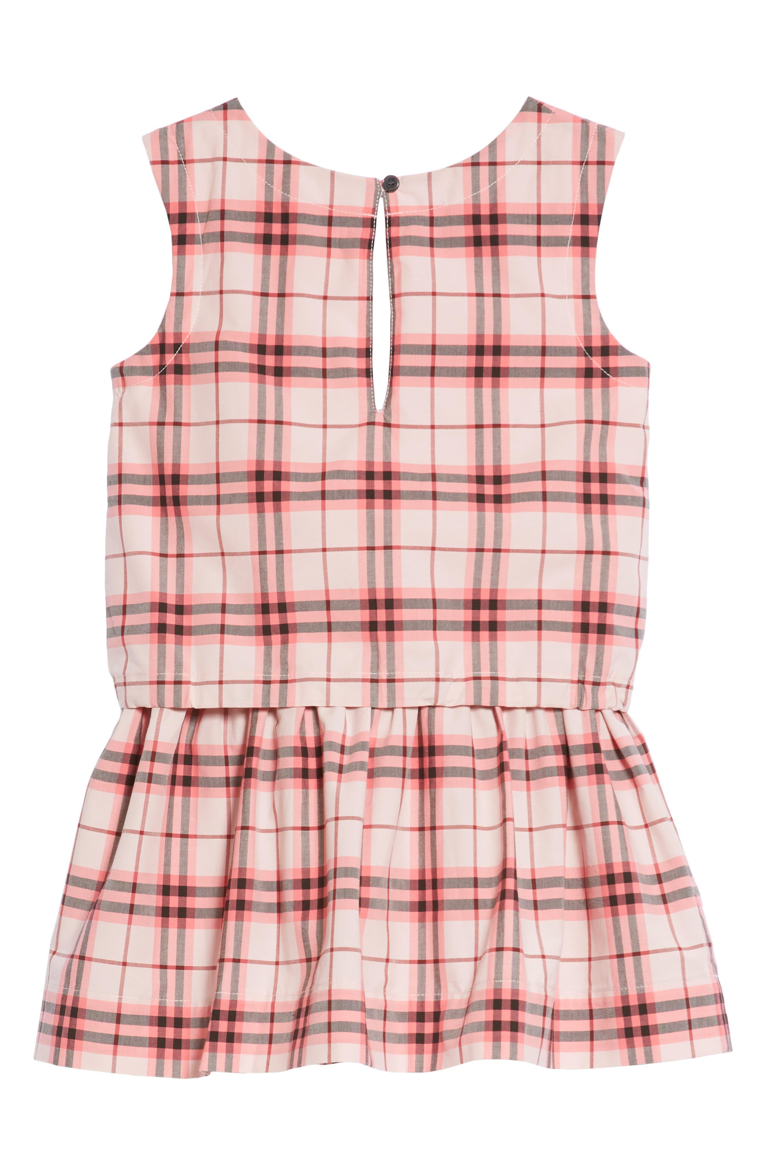 Mabel Check Dress,                             Alternate thumbnail 2, color,                             Bright Rose