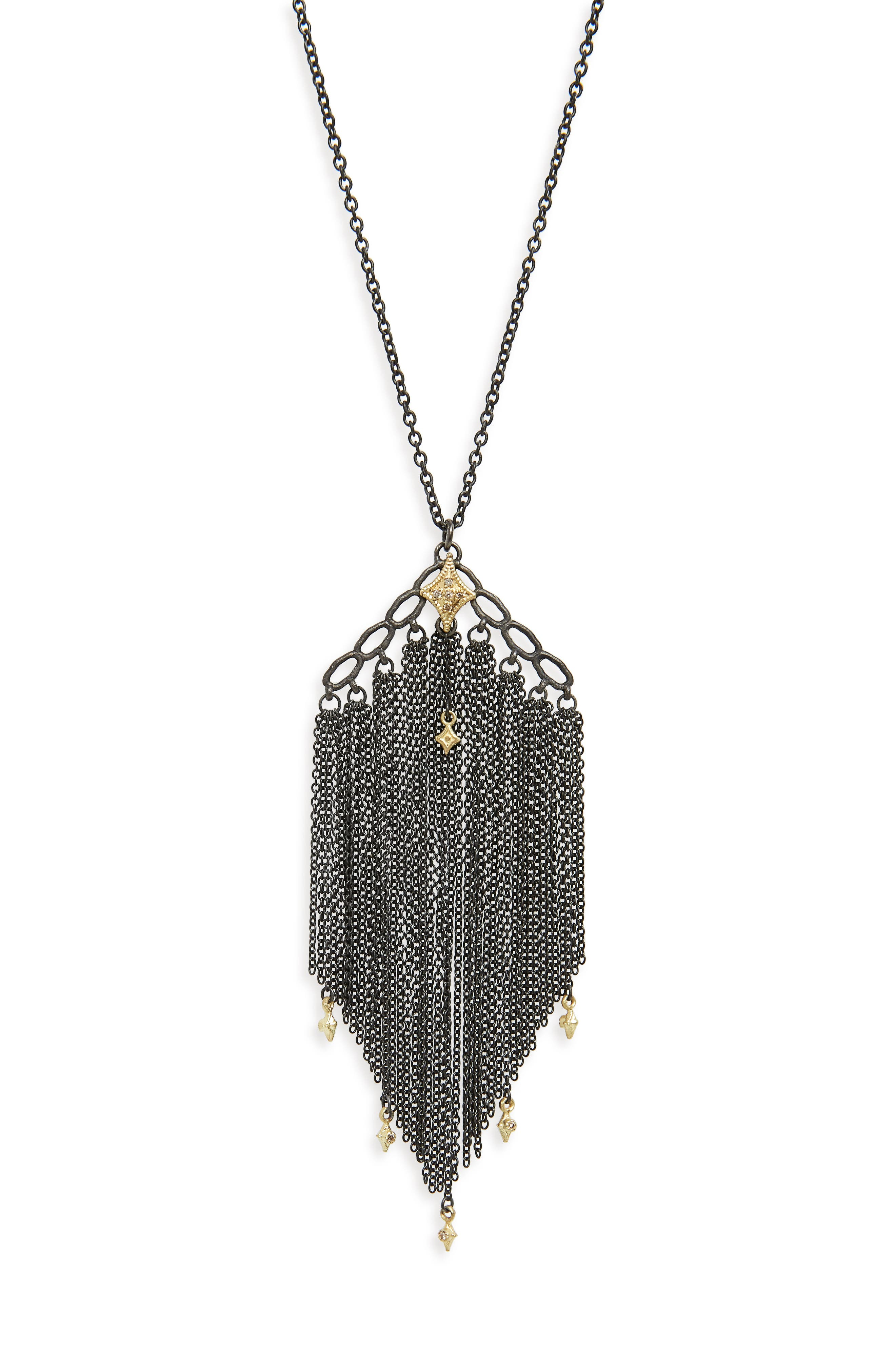 Old World Crivelli Tassel Necklace,                             Alternate thumbnail 2, color,                             Black/ Champagne Diamonds
