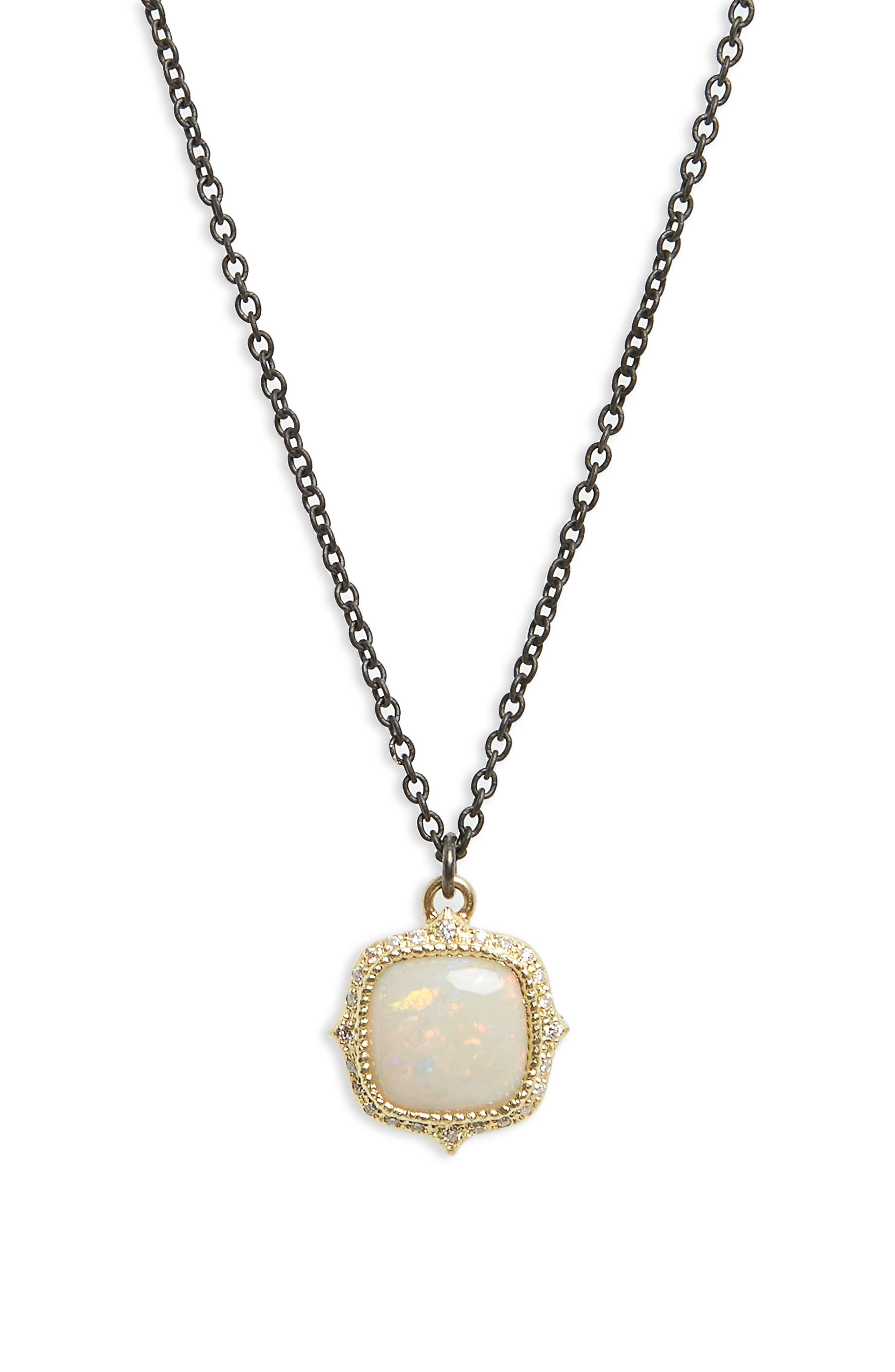 Old World Cushion Opal Drop Necklace,                         Main,                         color, Blackened Silver/ Gold