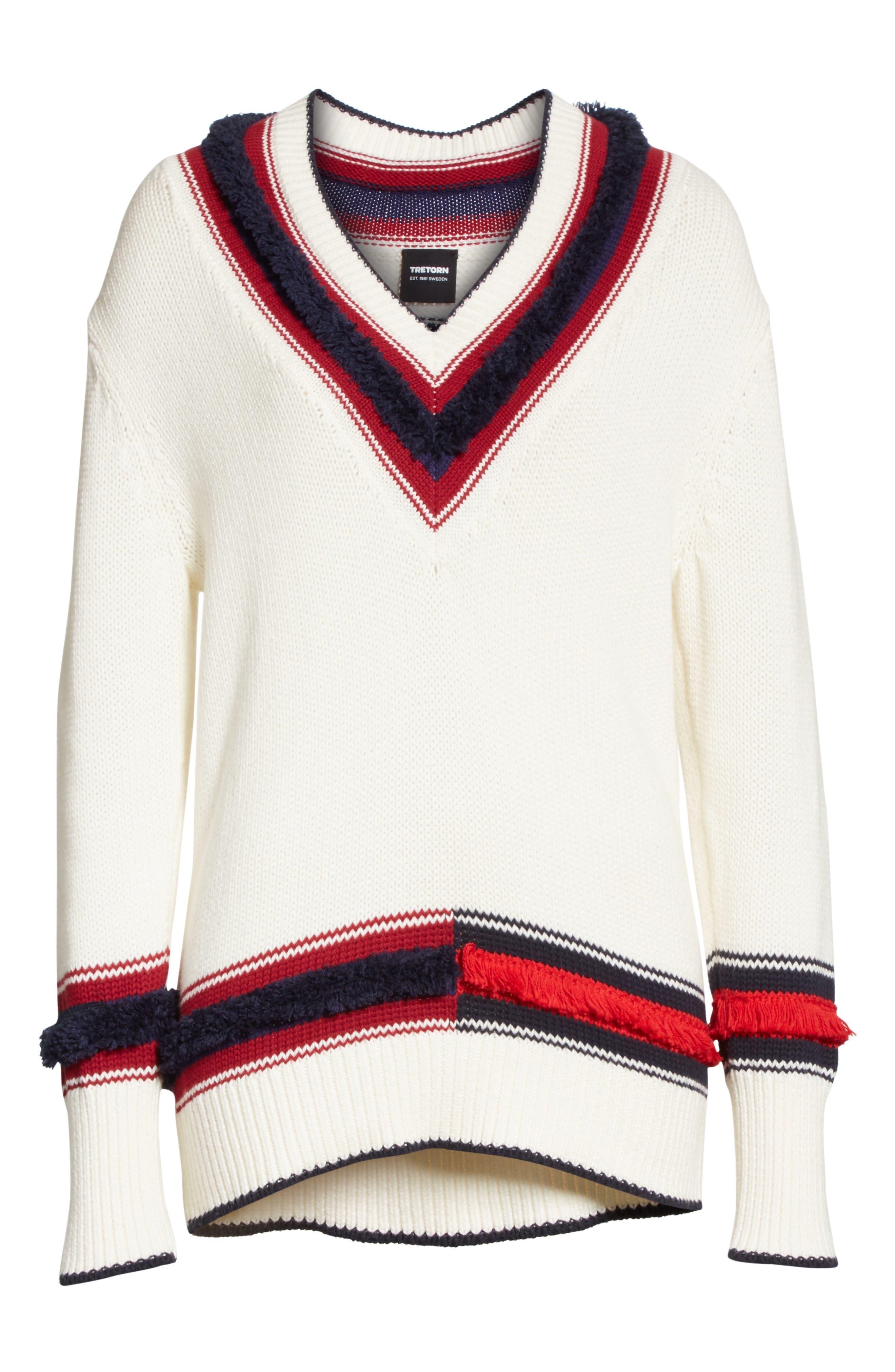 V-Neck Cotton & Cashmere Sweater,                             Alternate thumbnail 6, color,                             Ecru