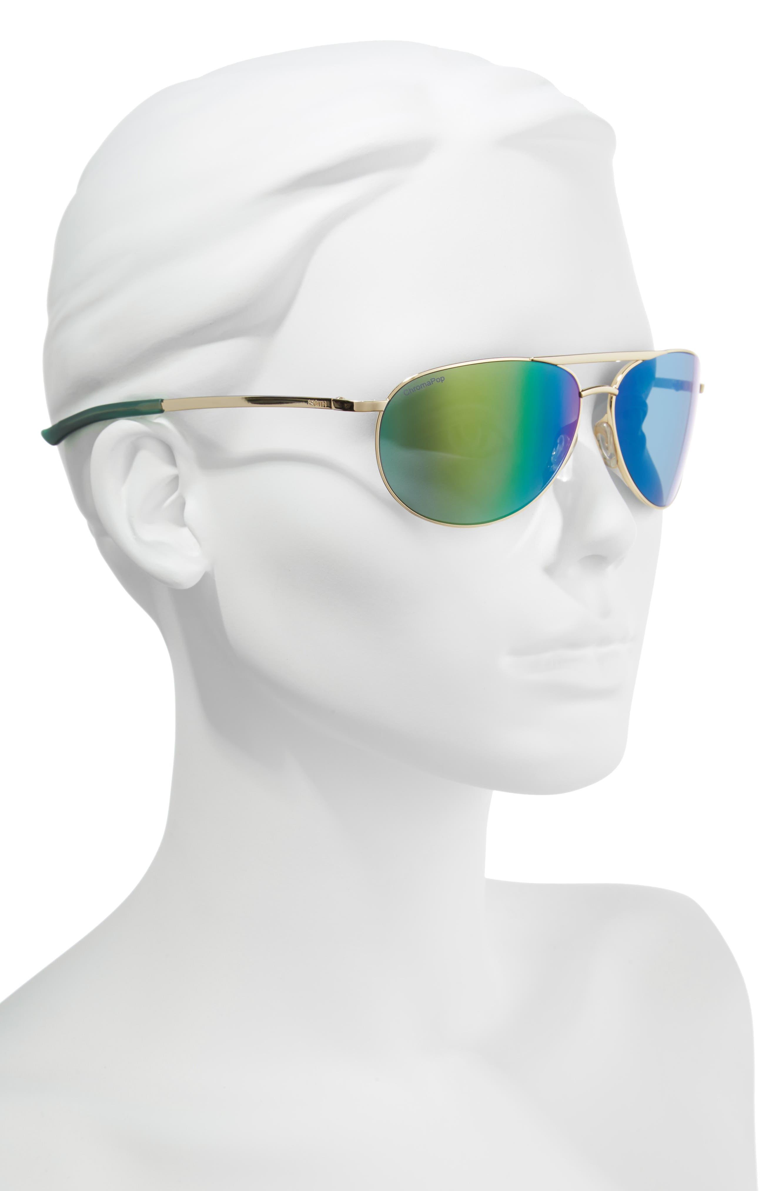 Serpico Slim 2.0 60mm ChromaPop Polarized Aviator Sunglasses,                             Alternate thumbnail 2, color,                             Gold/ Green Mirror