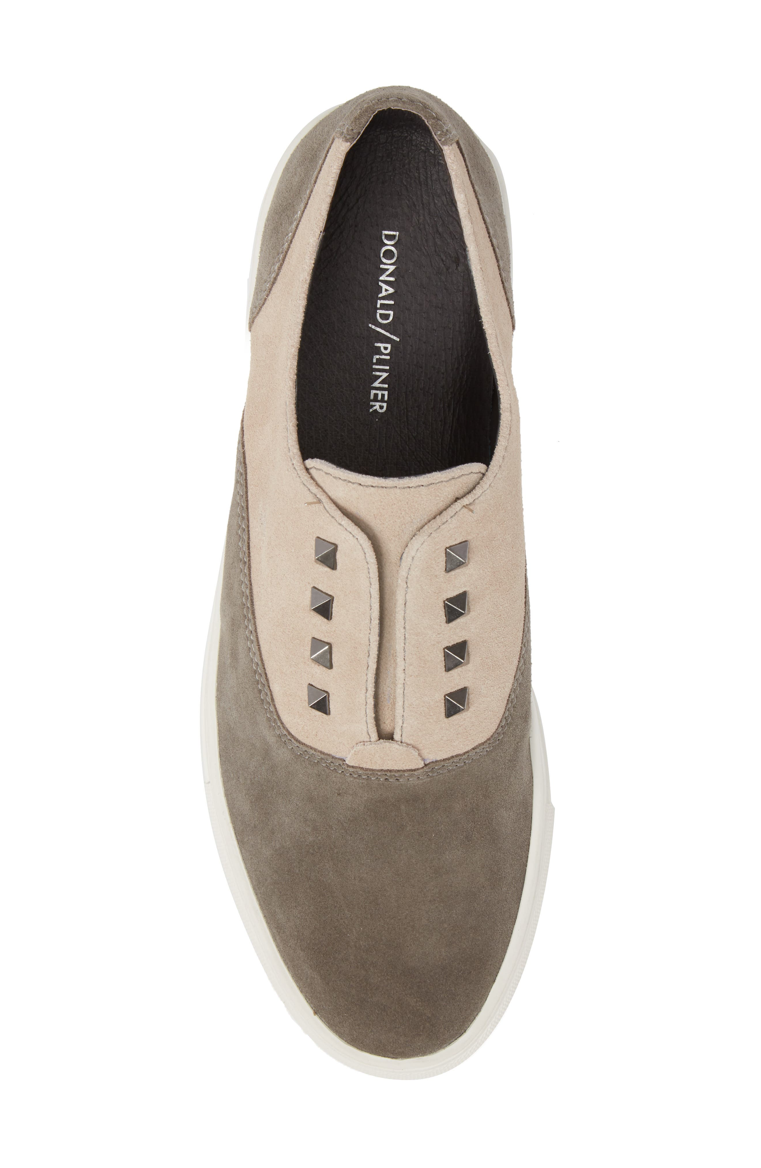 Aryo Studded Laceless Sneaker,                             Alternate thumbnail 5, color,                             Chocolate/ Sand Suede