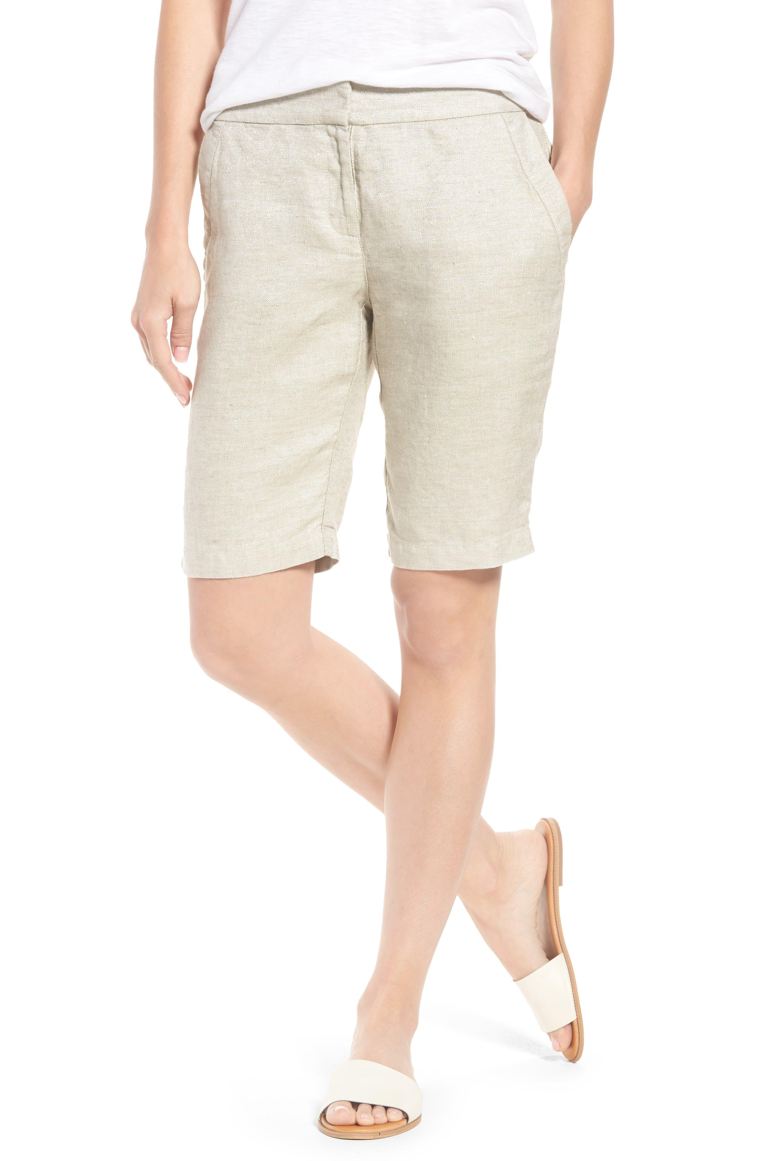 Organic Linen Blend Walking Shorts,                             Main thumbnail 1, color,                             Natural