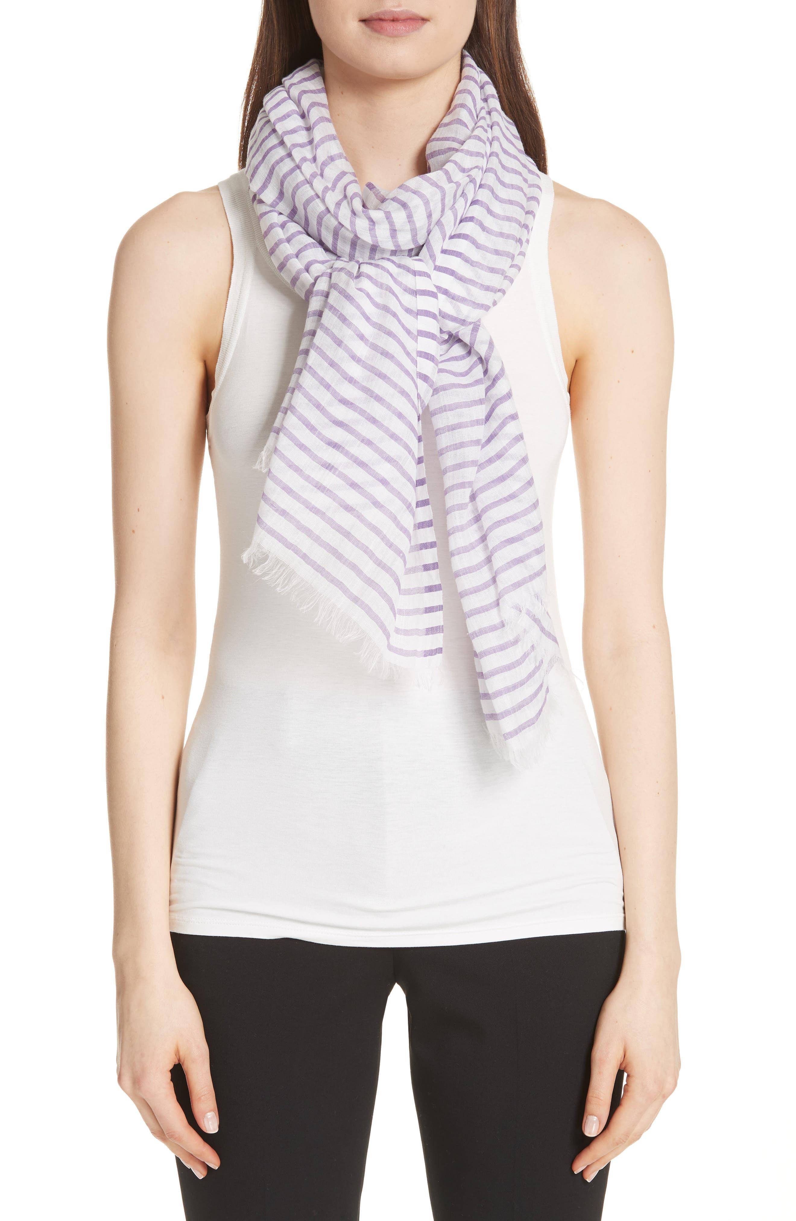 Reed Stripe Cotton & Linen Scarf,                             Alternate thumbnail 2, color,                             Mauve