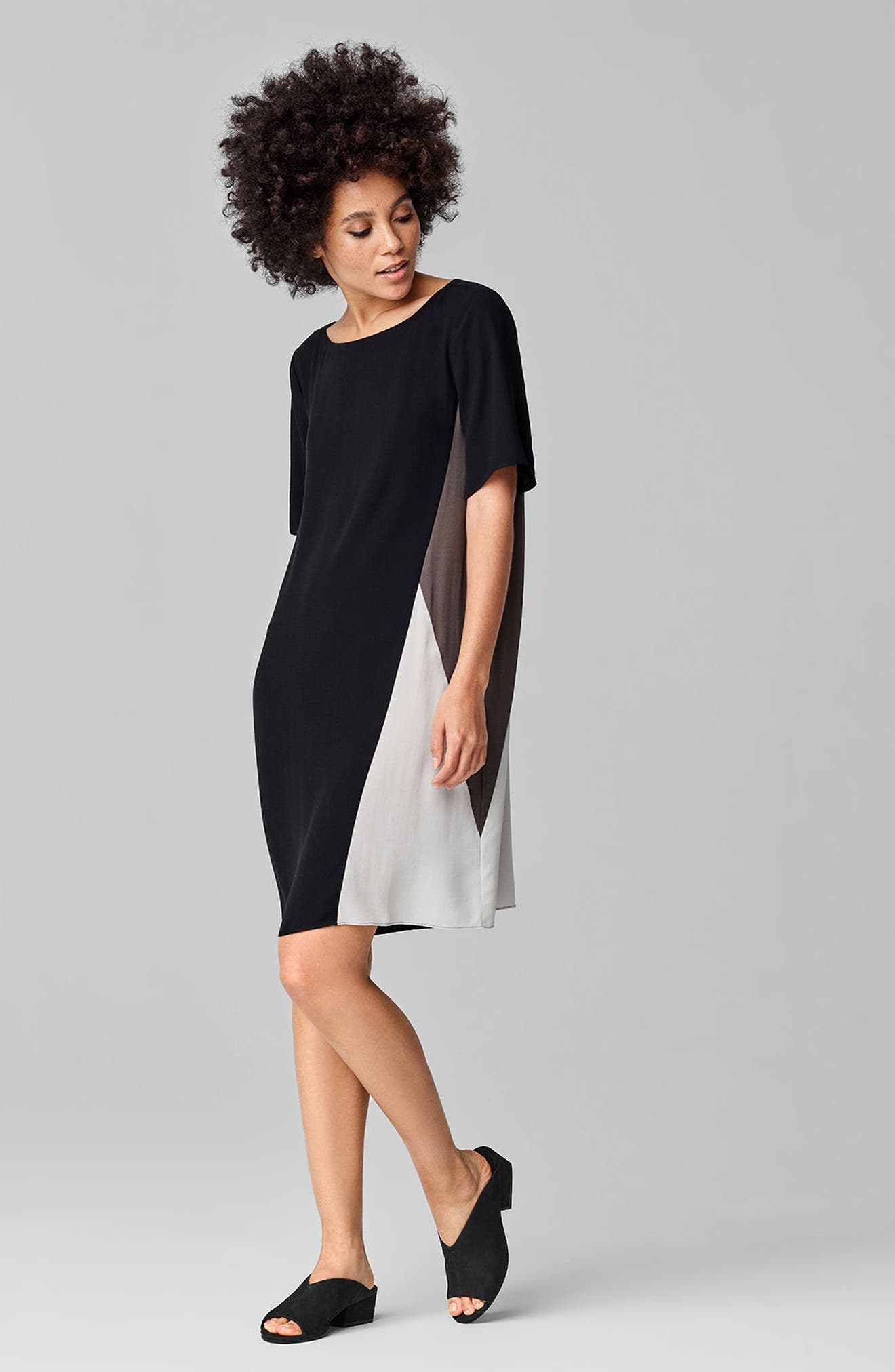 Colorblock Silk Georgette Crepe Dress,                             Alternate thumbnail 2, color,                             Black