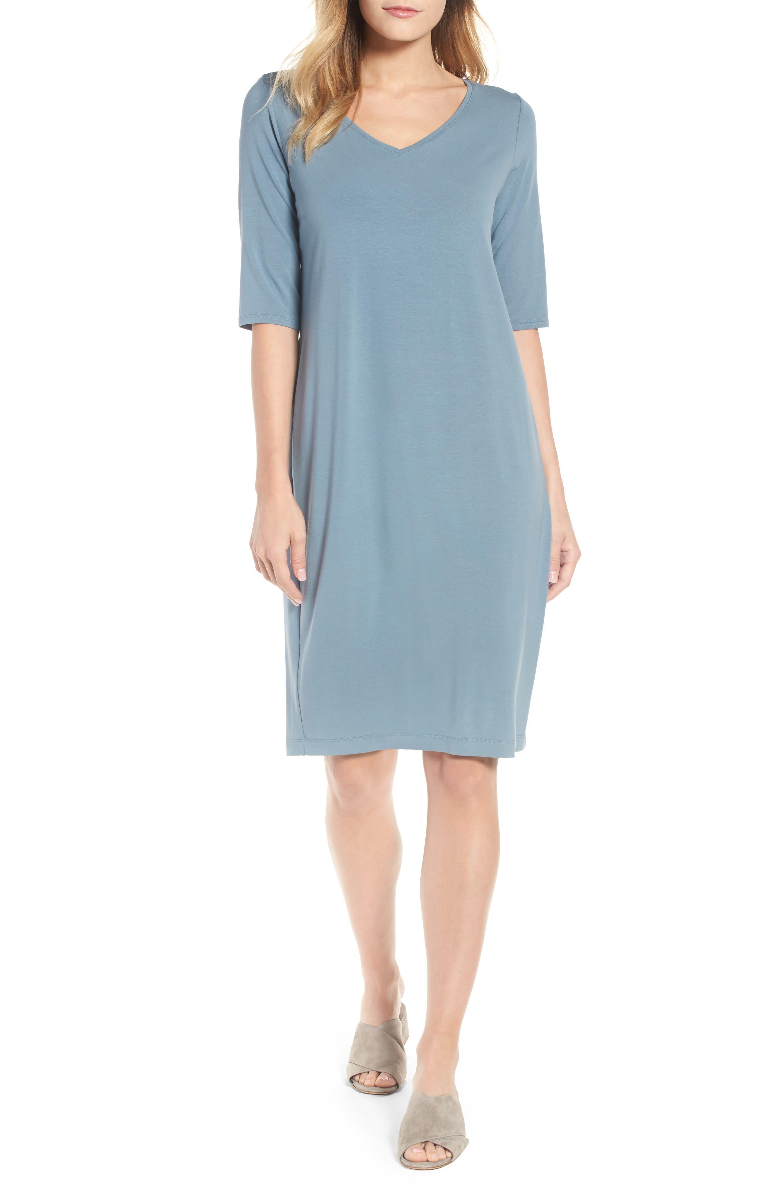 Eileen Fisher Stretch Jersey Shift Dress (Regular & Petite)