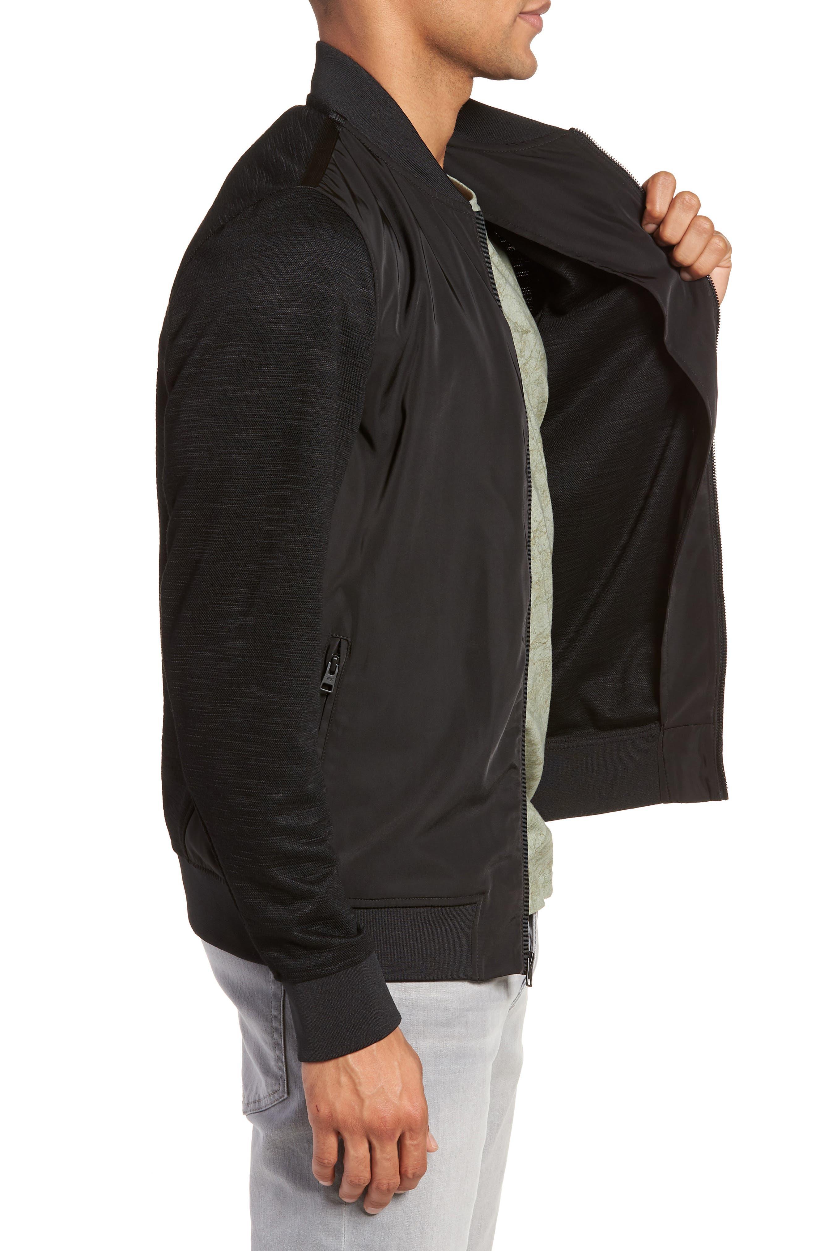 Gesso Slim Fit Bomber Jacket,                             Alternate thumbnail 3, color,                             Black