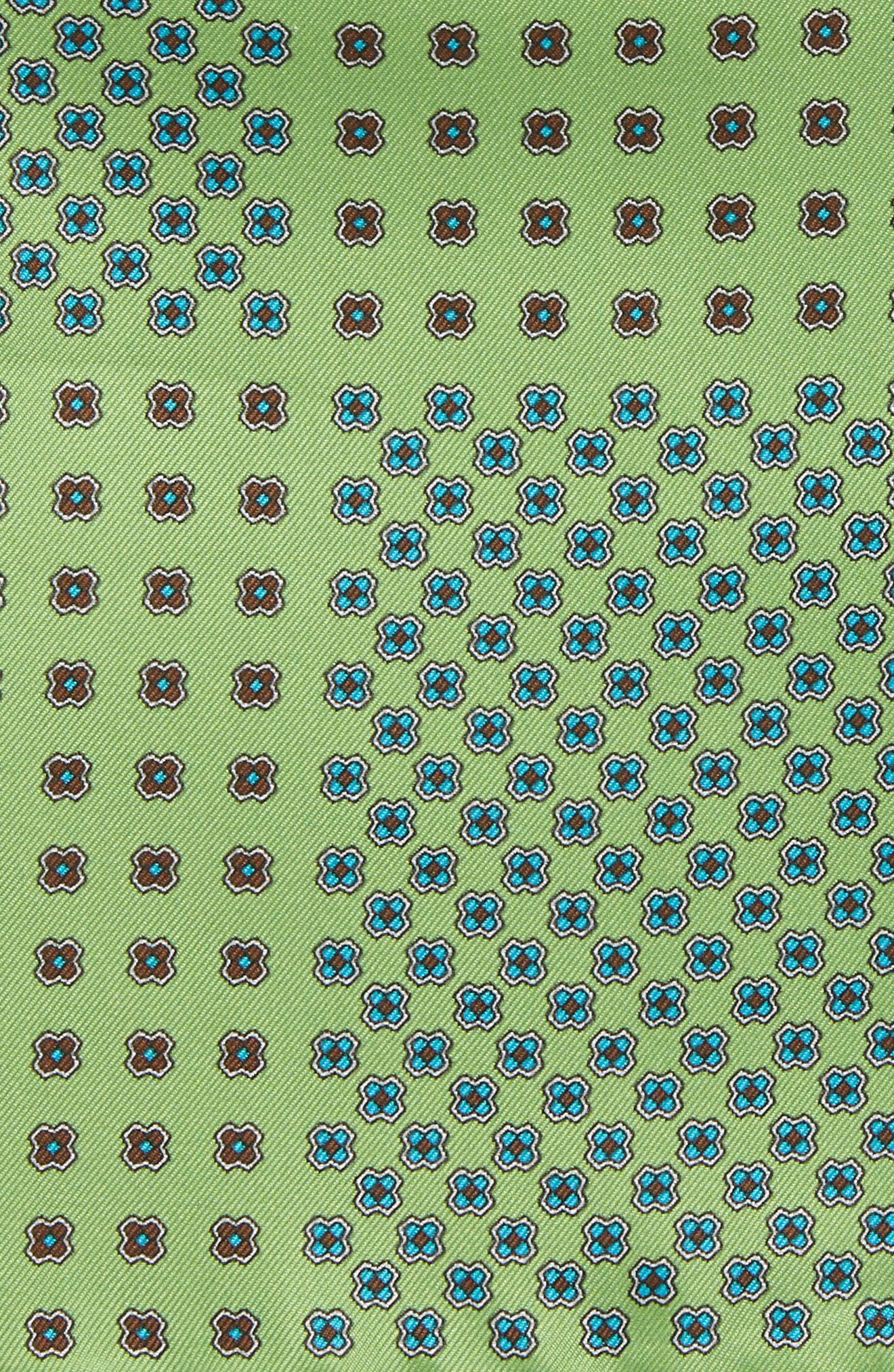 Medallion Silk Pocket Square,                             Alternate thumbnail 2, color,                             Green