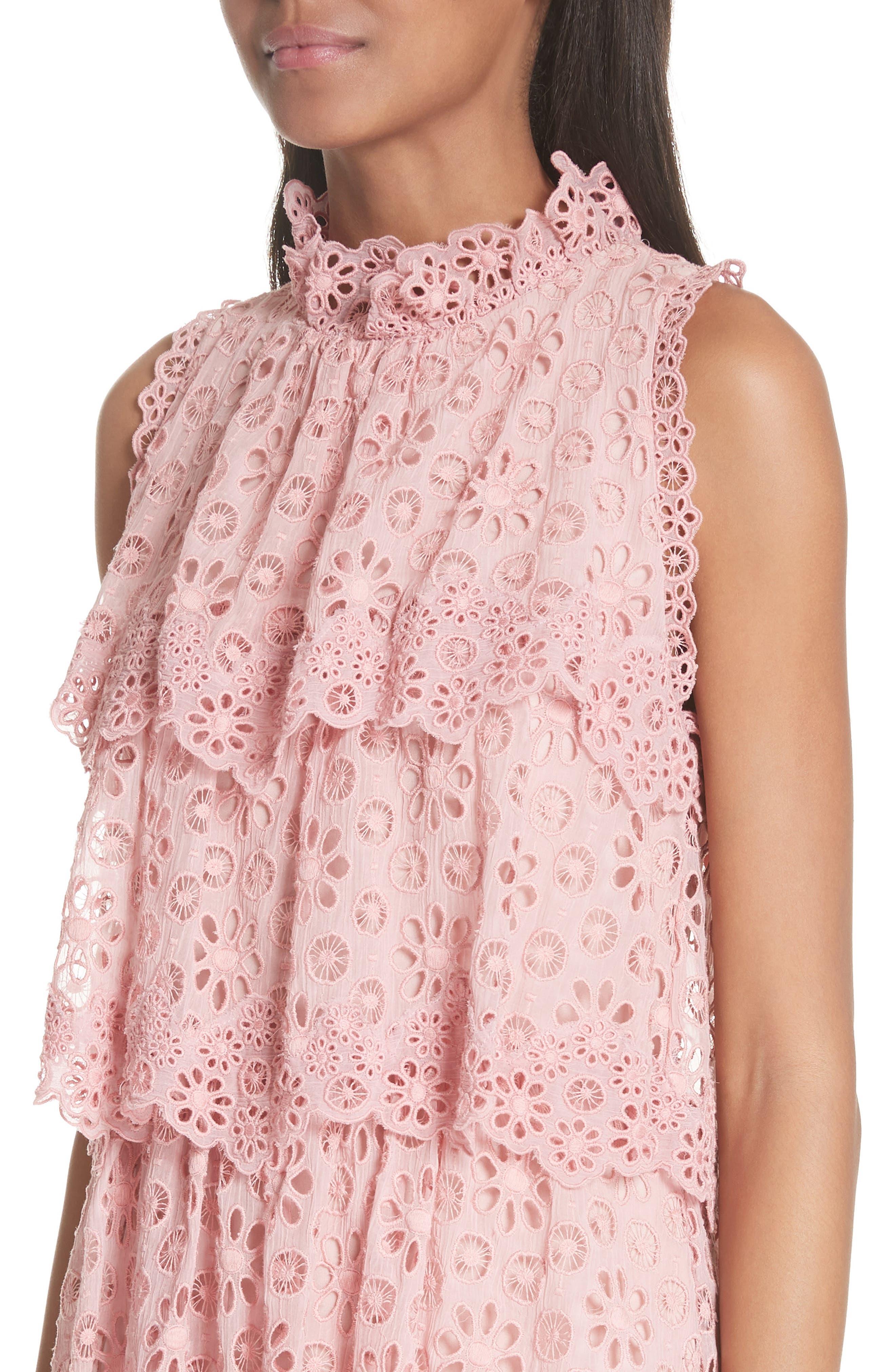 Sleeveless Pinwheel Dress,                             Alternate thumbnail 4, color,                             Peony