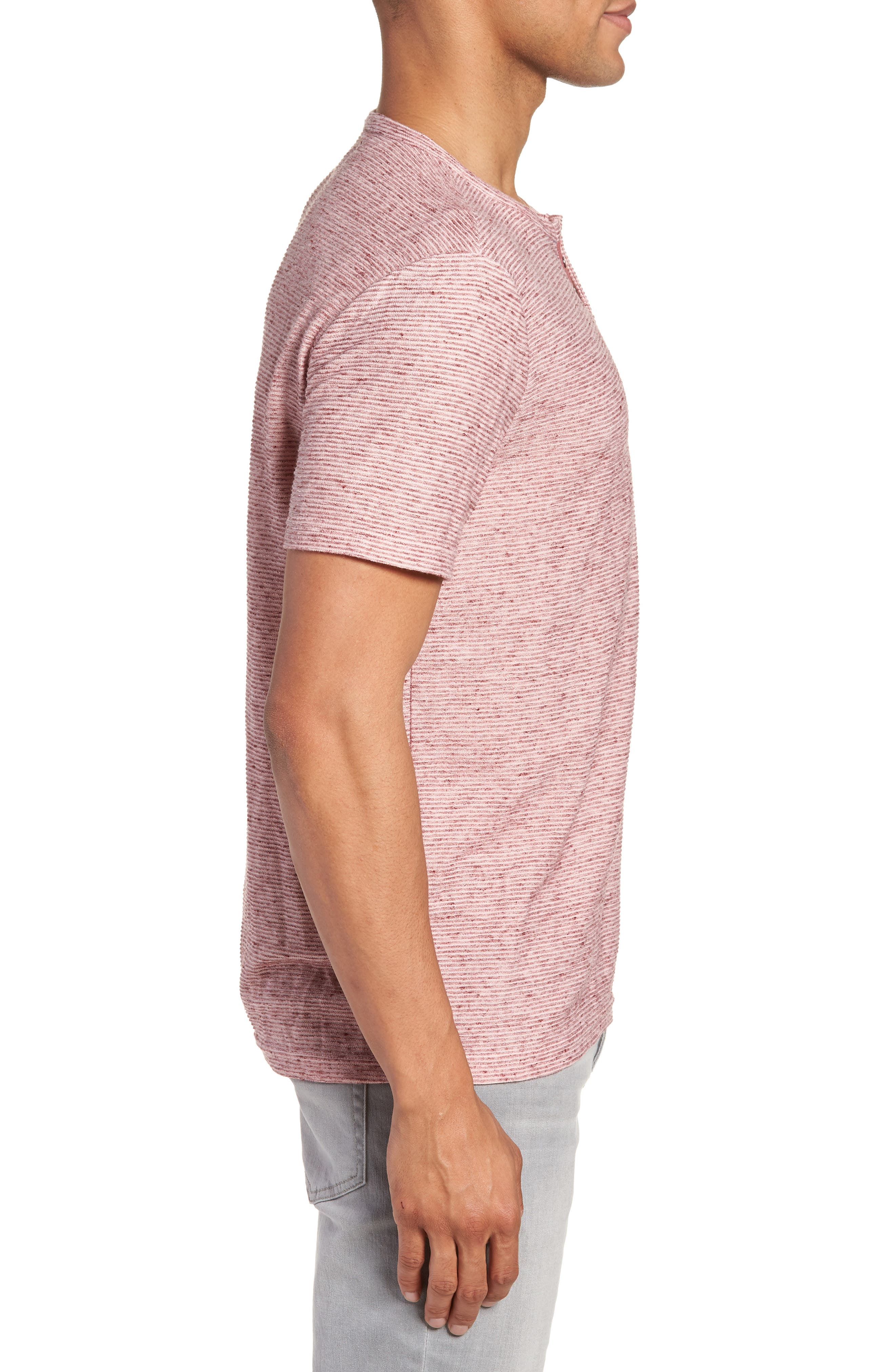 Metro Textured Henley Shirt,                             Alternate thumbnail 3, color,                             Red