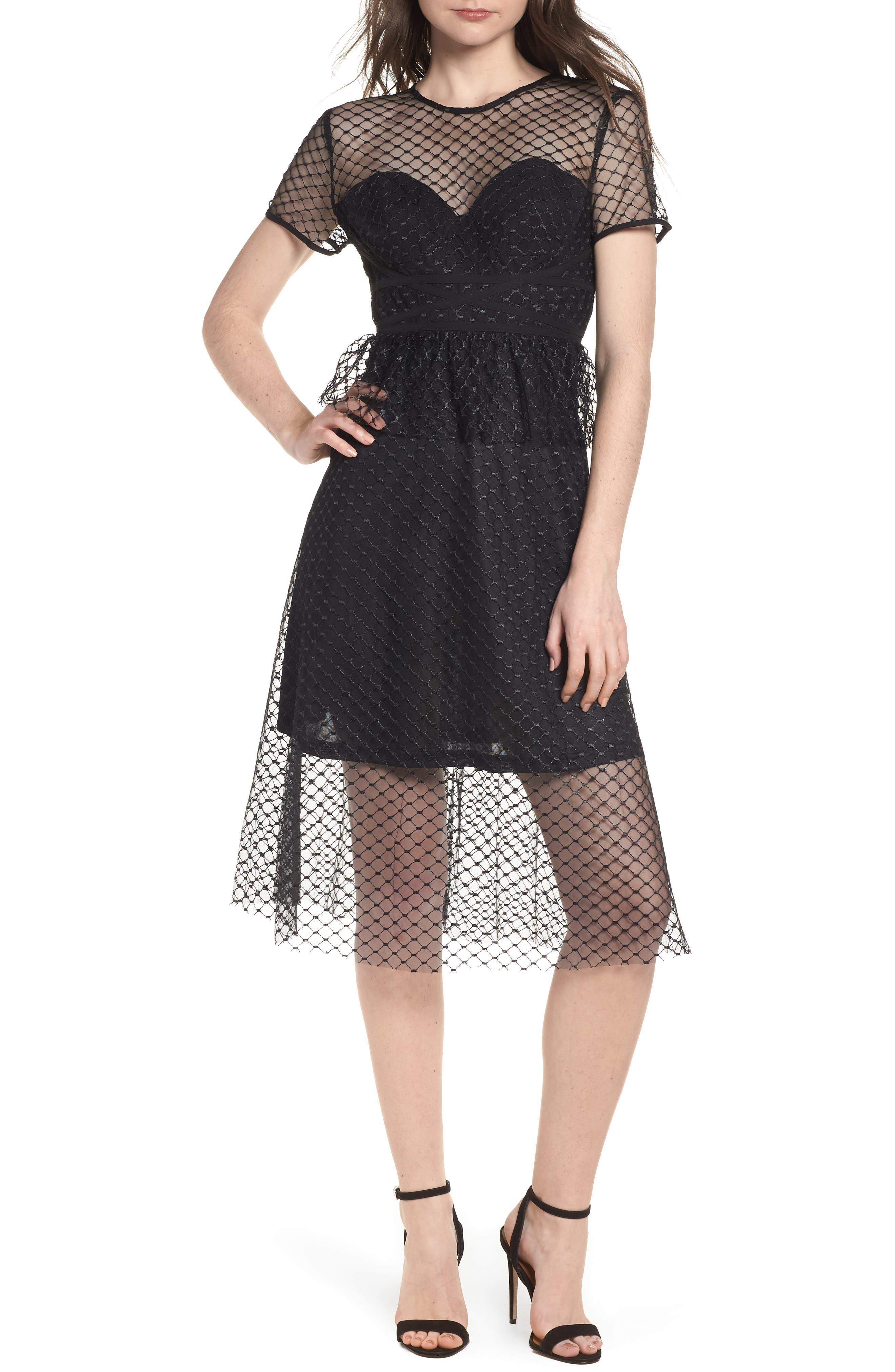Lace Fit & Flare Dress,                         Main,                         color, Black