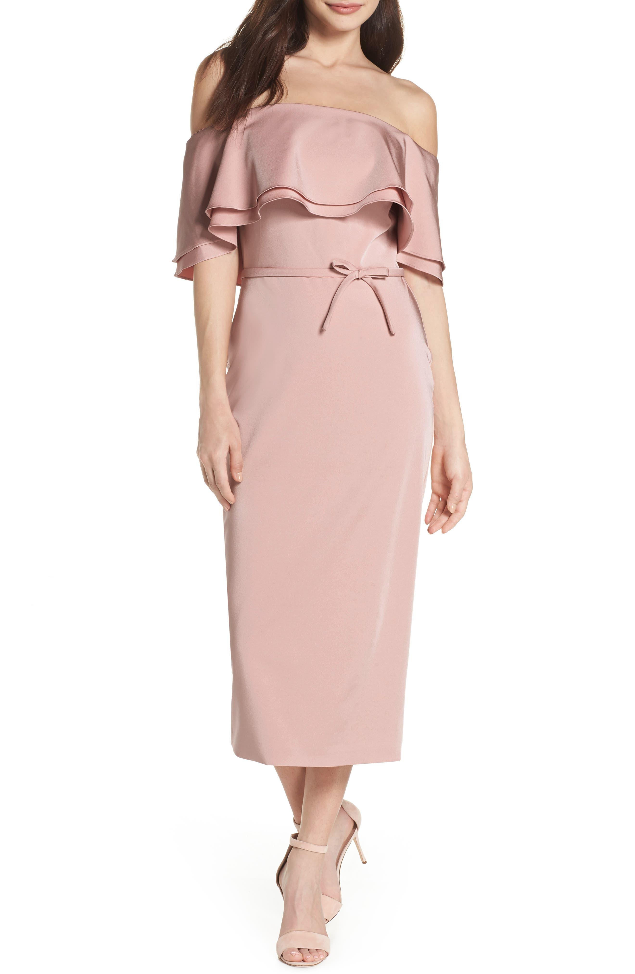 Ruffle Off the Shoulder Tea Length Dress,                         Main,                         color, Rose