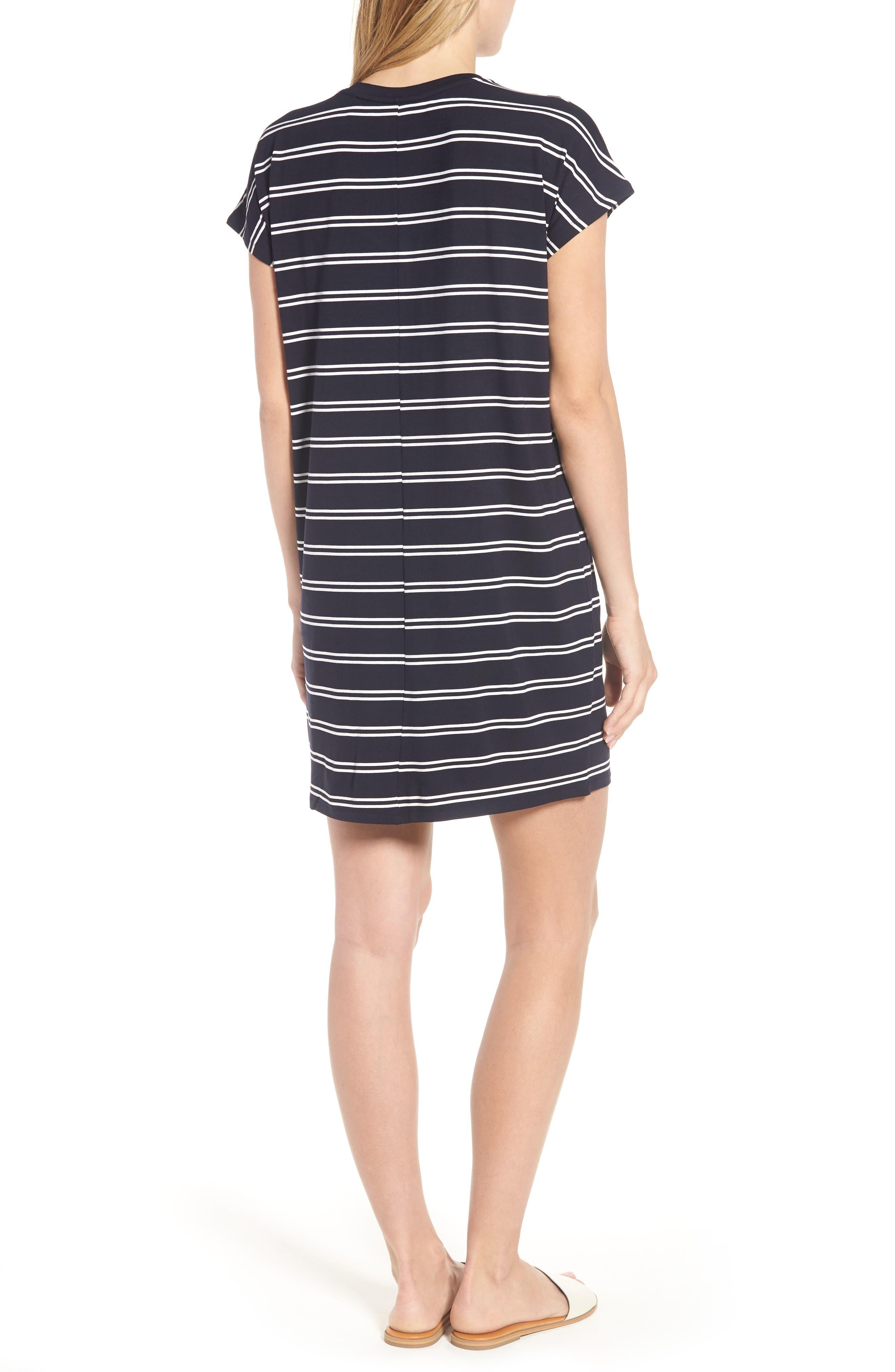 Stripe T-Shirt Dress,                             Alternate thumbnail 2, color,                             Deepest Navy White