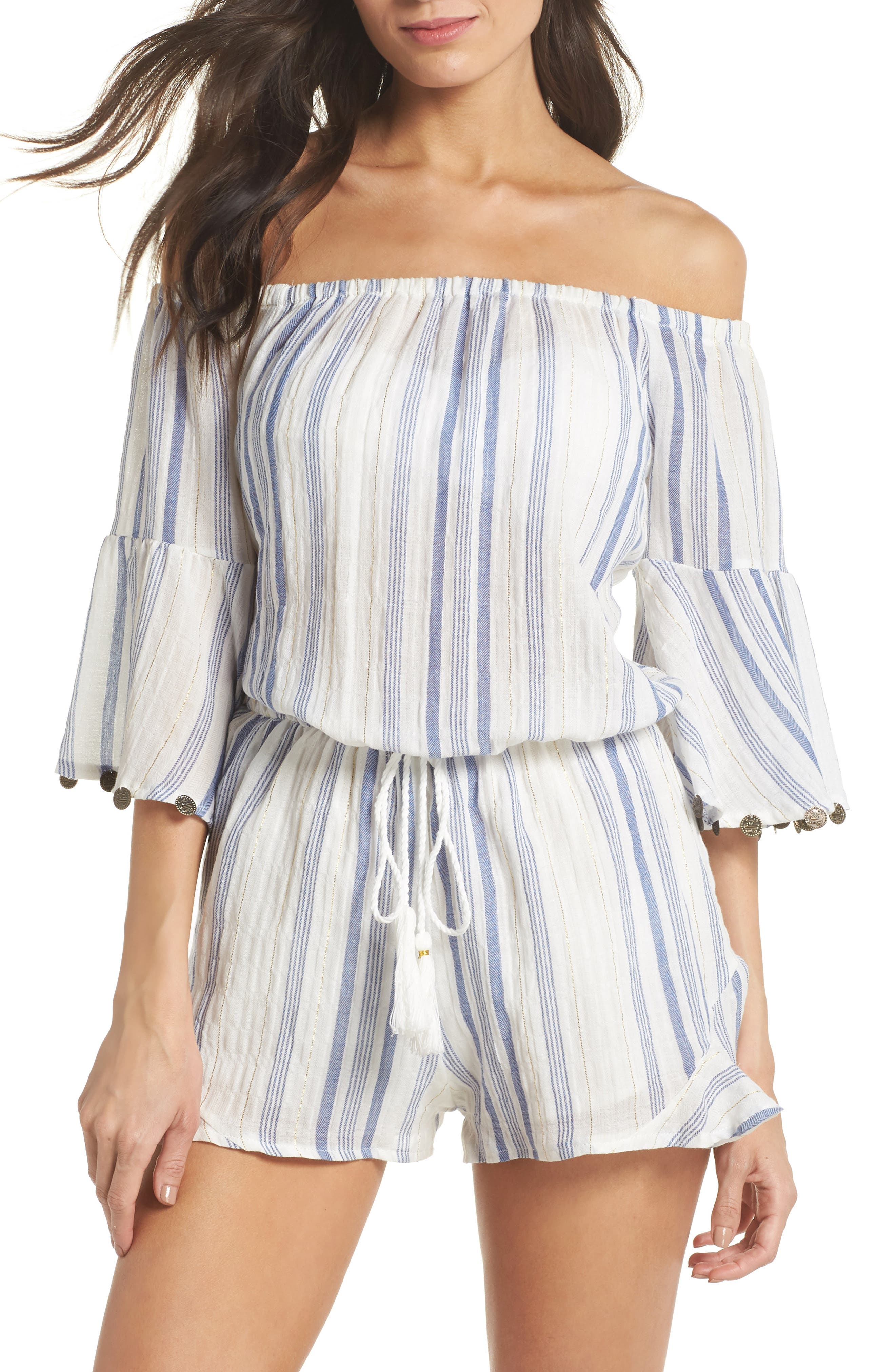 Off the Shoulder Cover-Up Romper,                             Main thumbnail 1, color,                             Bali Stripe