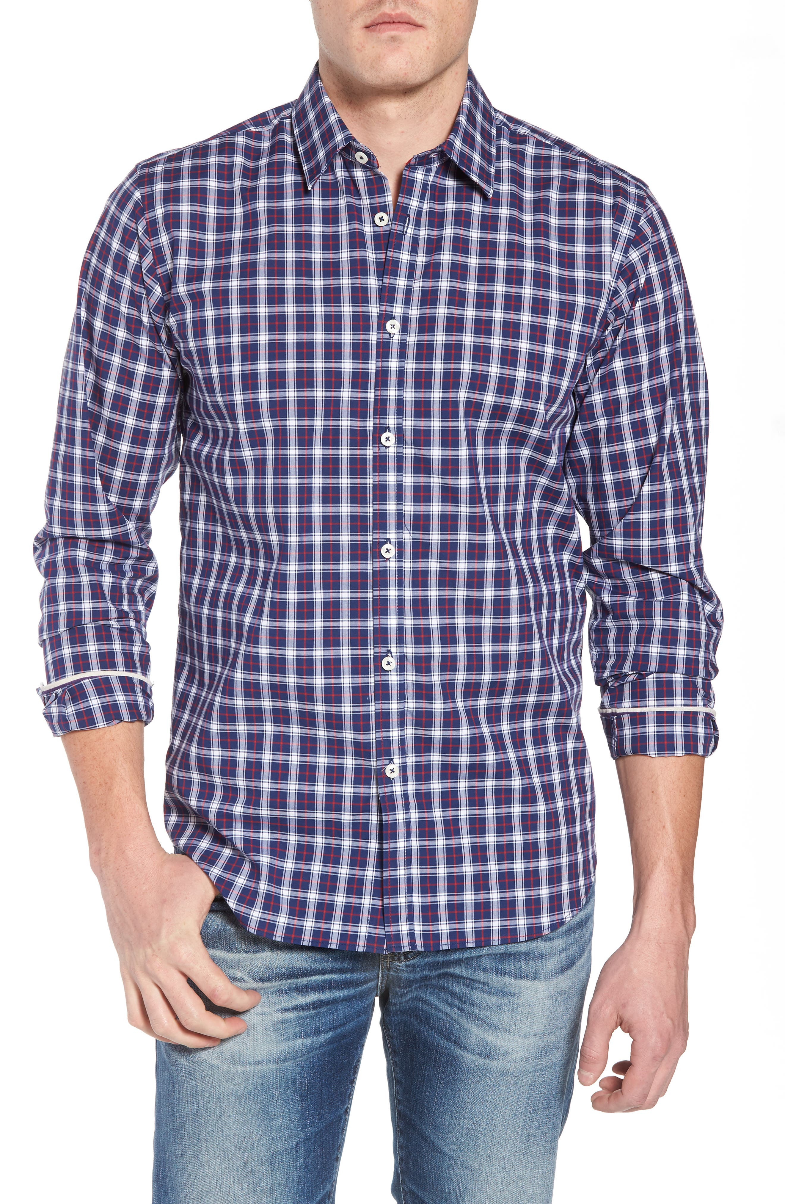 Slim Fit Check Sport Shirt,                         Main,                         color, Navy