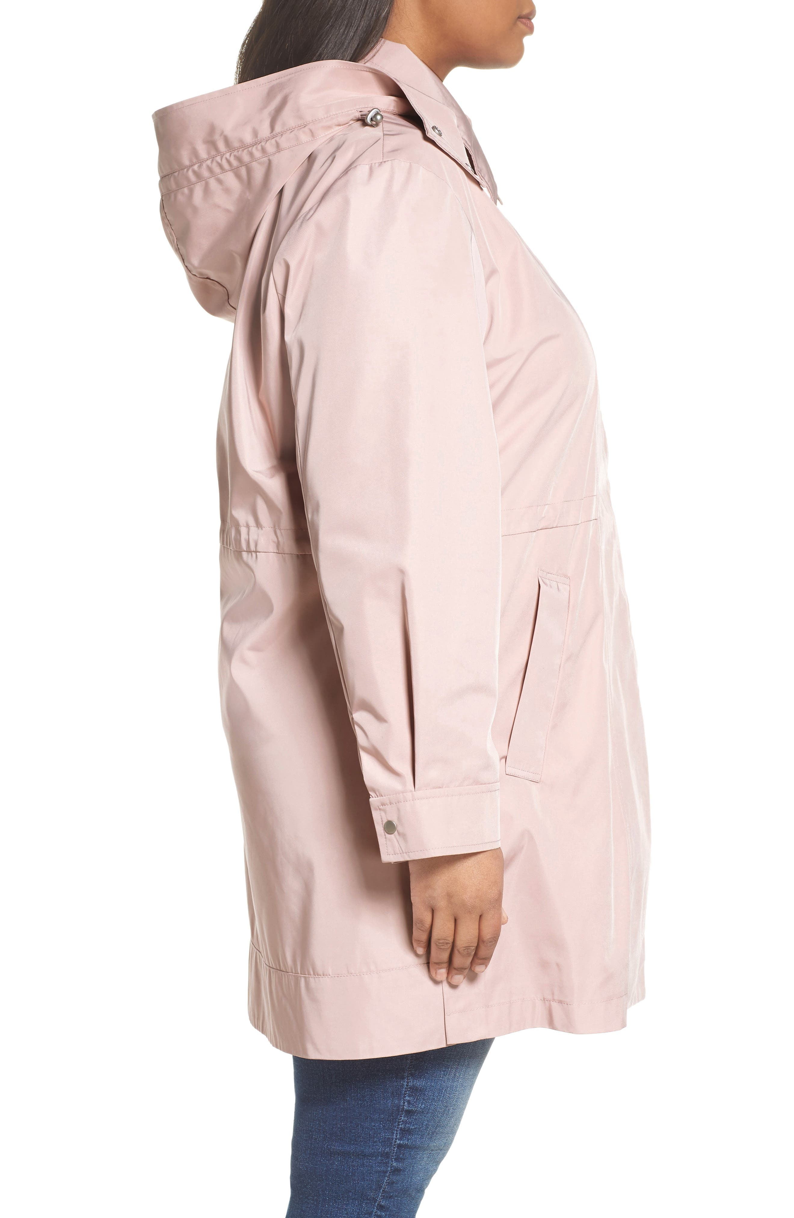 Tech Hooded Trench Coat,                             Alternate thumbnail 3, color,                             Misty Rose