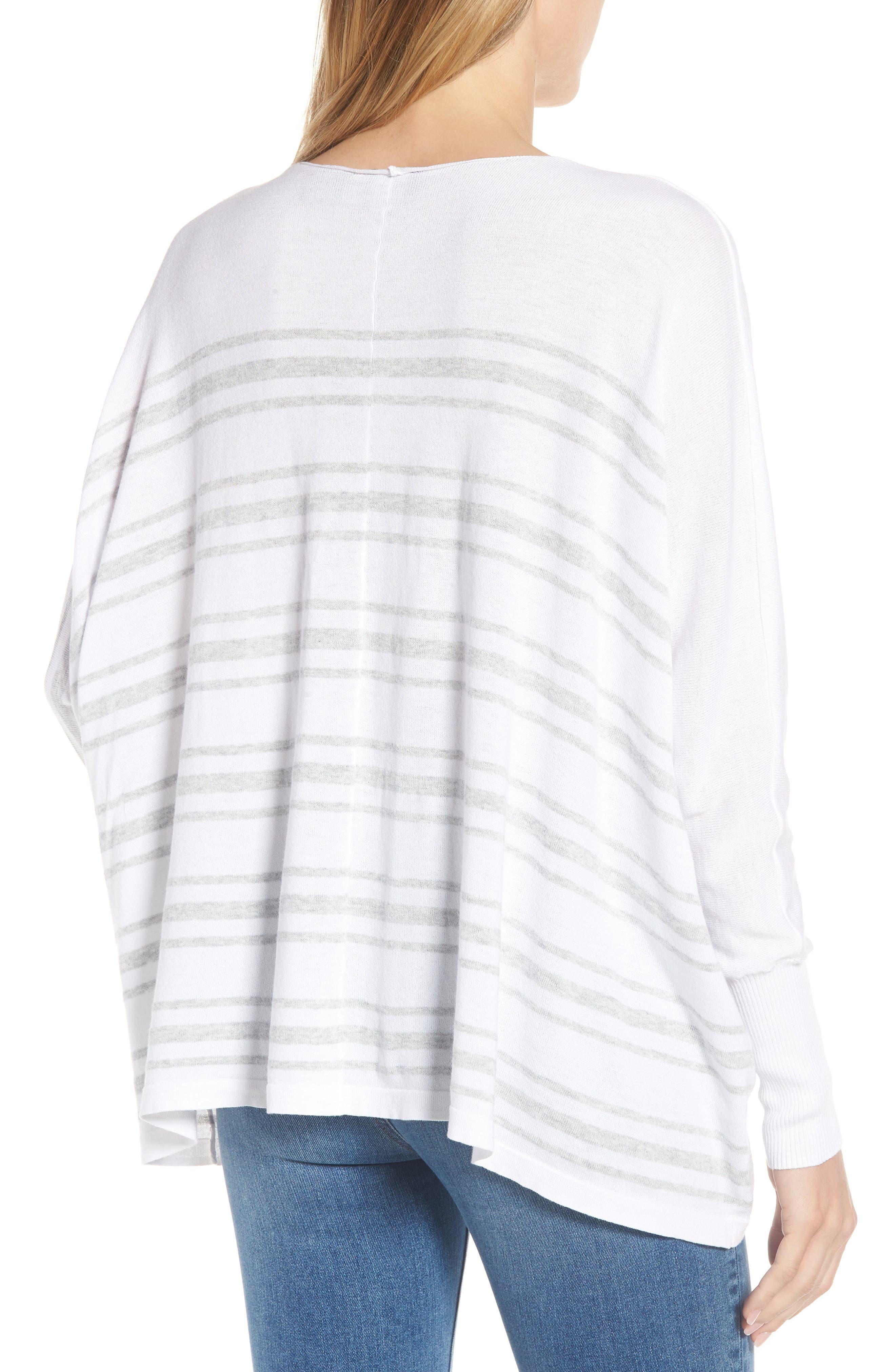 Oversize Sleeve Stripe V-Neck Sweater,                             Alternate thumbnail 2, color,                             Warm White Pebble Grey Mix
