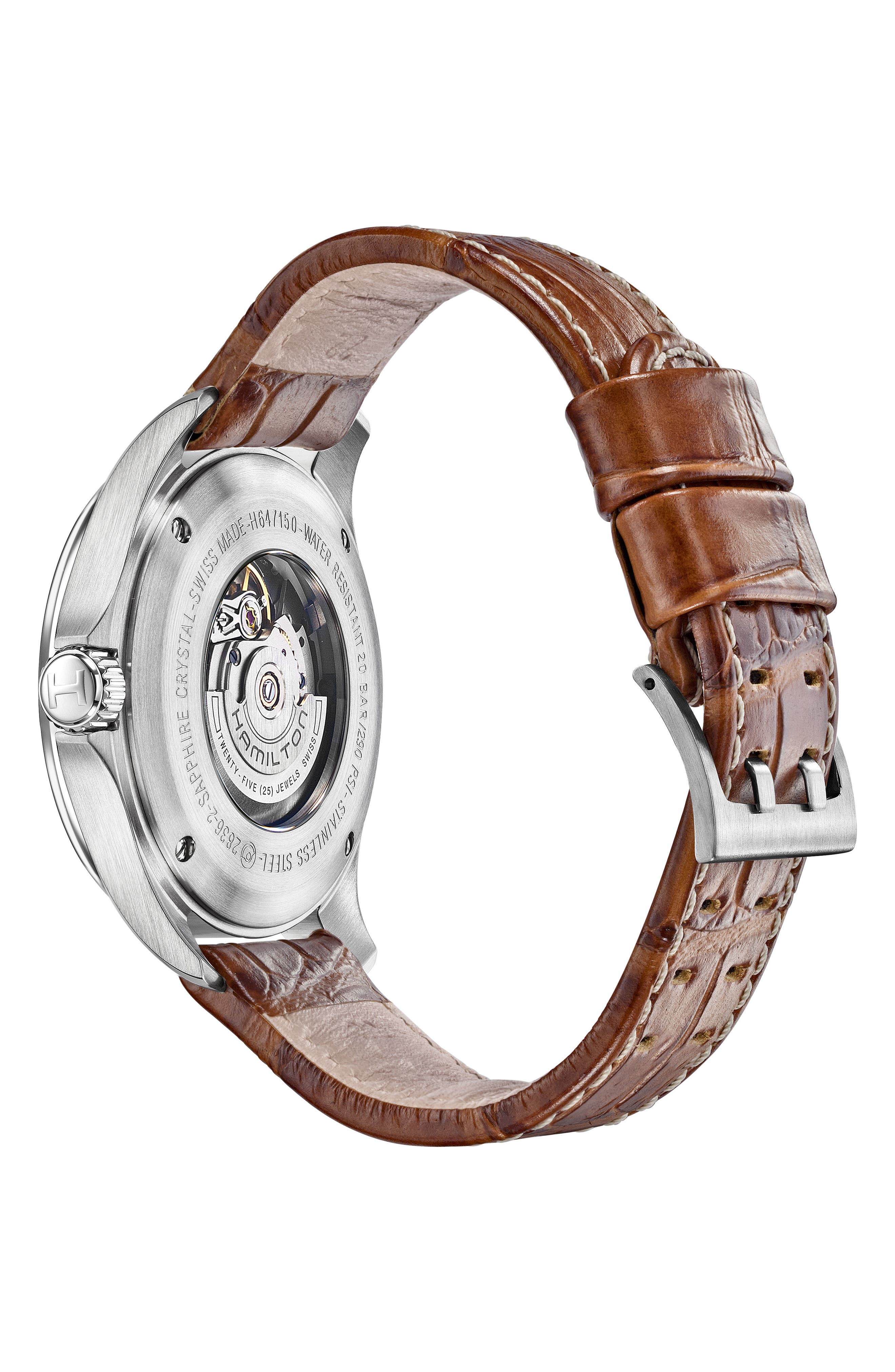 Khaki Aviation Automatic Leather Strap Watch, 46mm,                             Alternate thumbnail 2, color,                             Brown/ Grey/ Silver