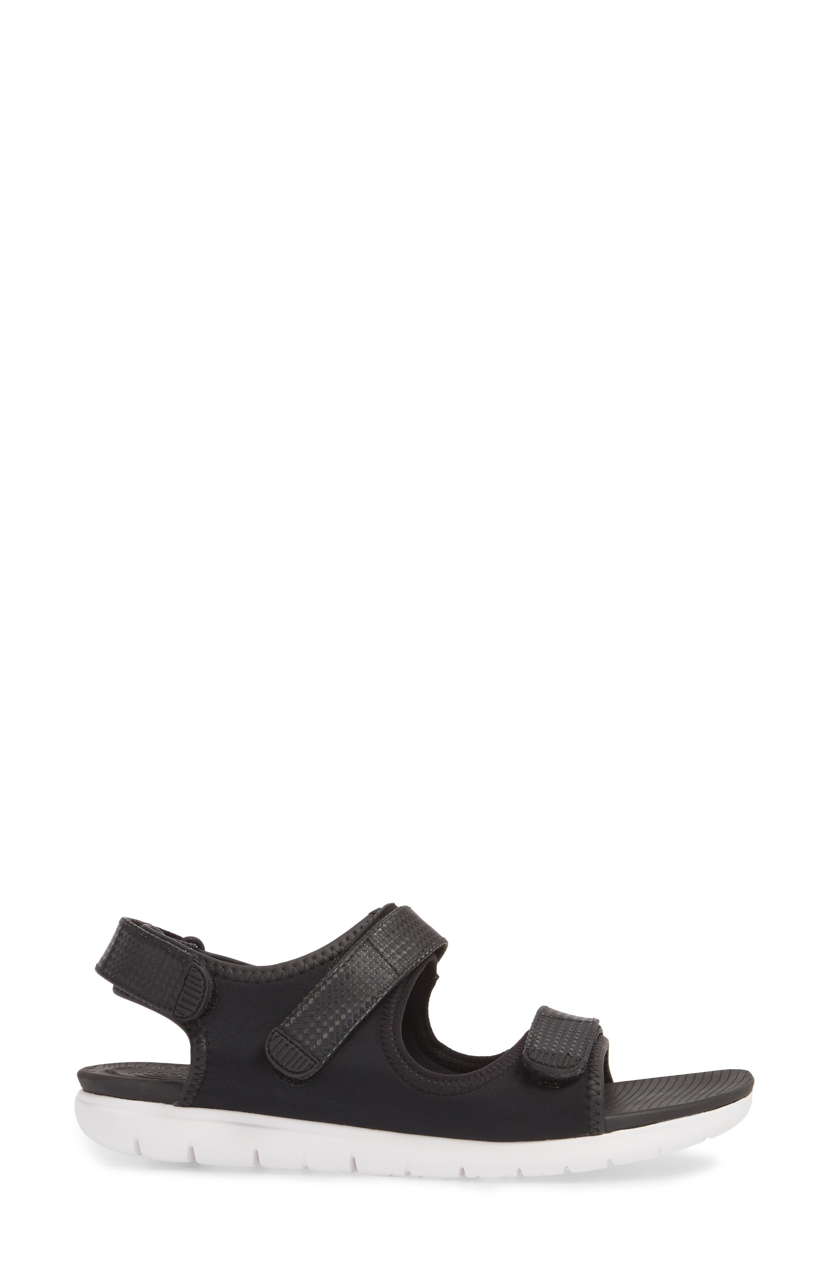 FitfFlop Neoflex<sup>™</sup> Back Strap Sandal,                             Alternate thumbnail 3, color,                             Black Leather