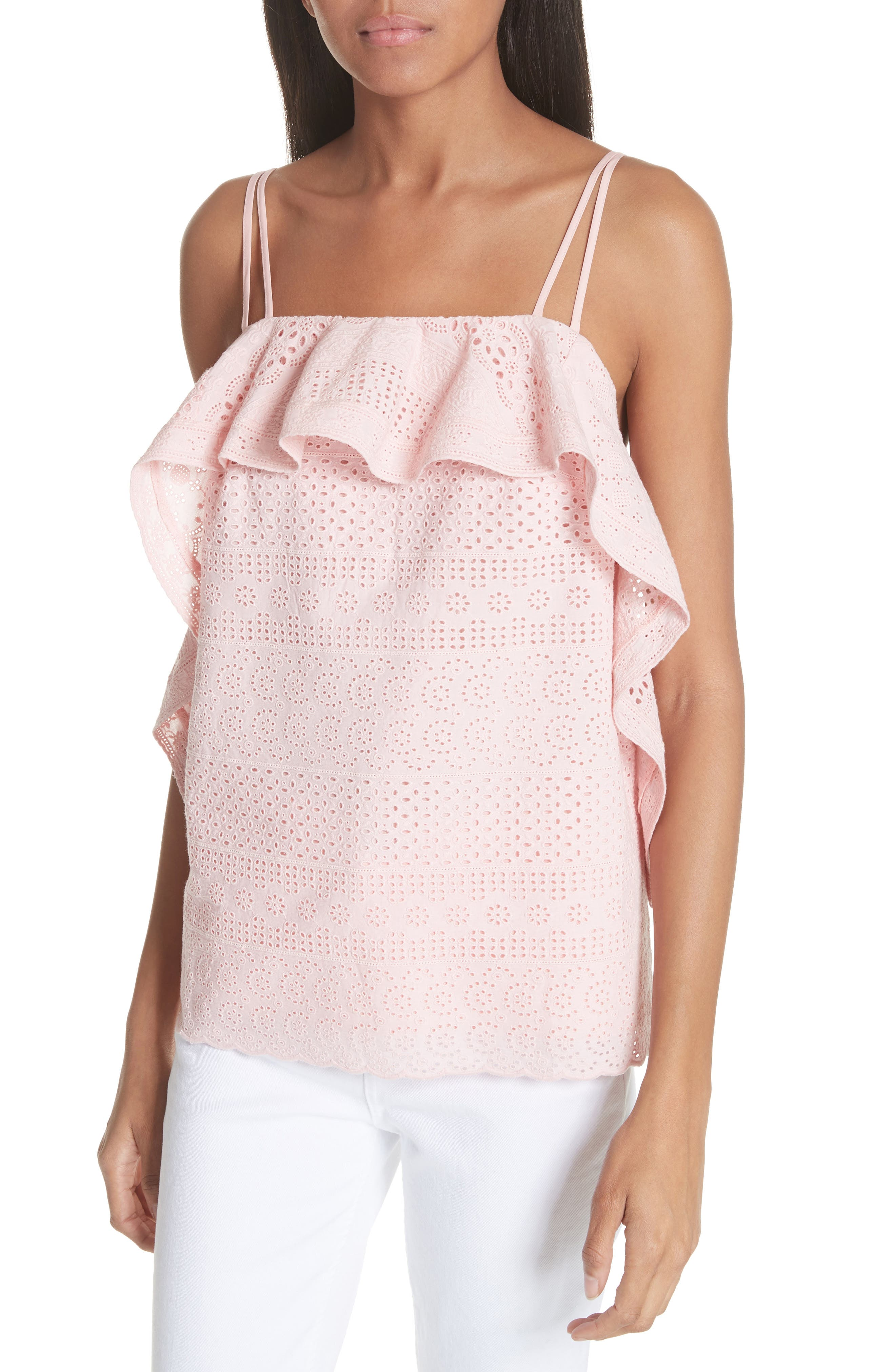 Deconstructed Broderie Top,                             Alternate thumbnail 4, color,                             Pink
