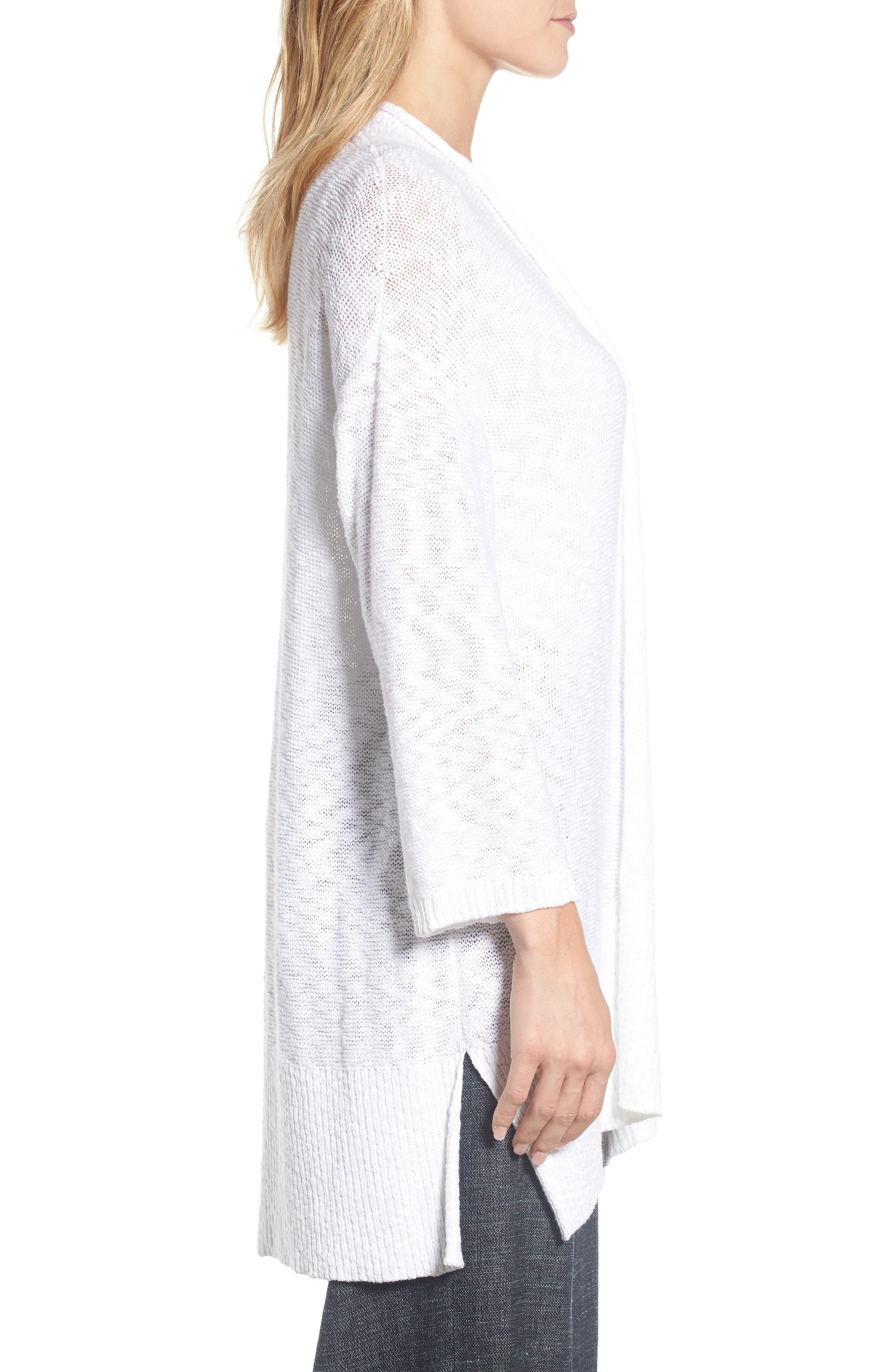 Long Organic Cotton Cardigan,                             Alternate thumbnail 3, color,                             White