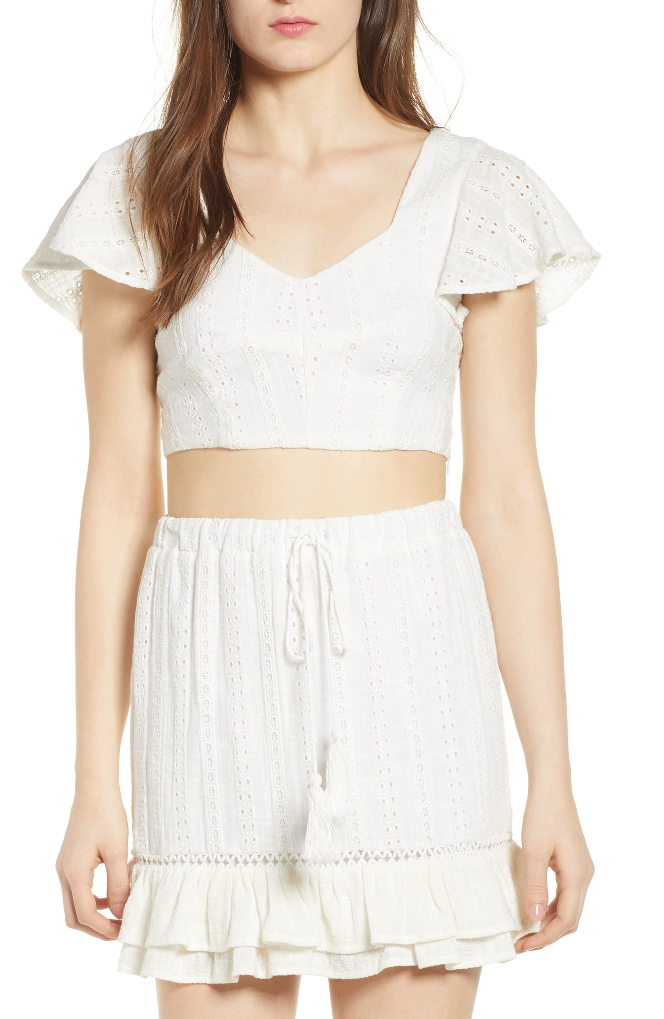 Daisy Eyelet Crop Top,                         Main,                         color, White