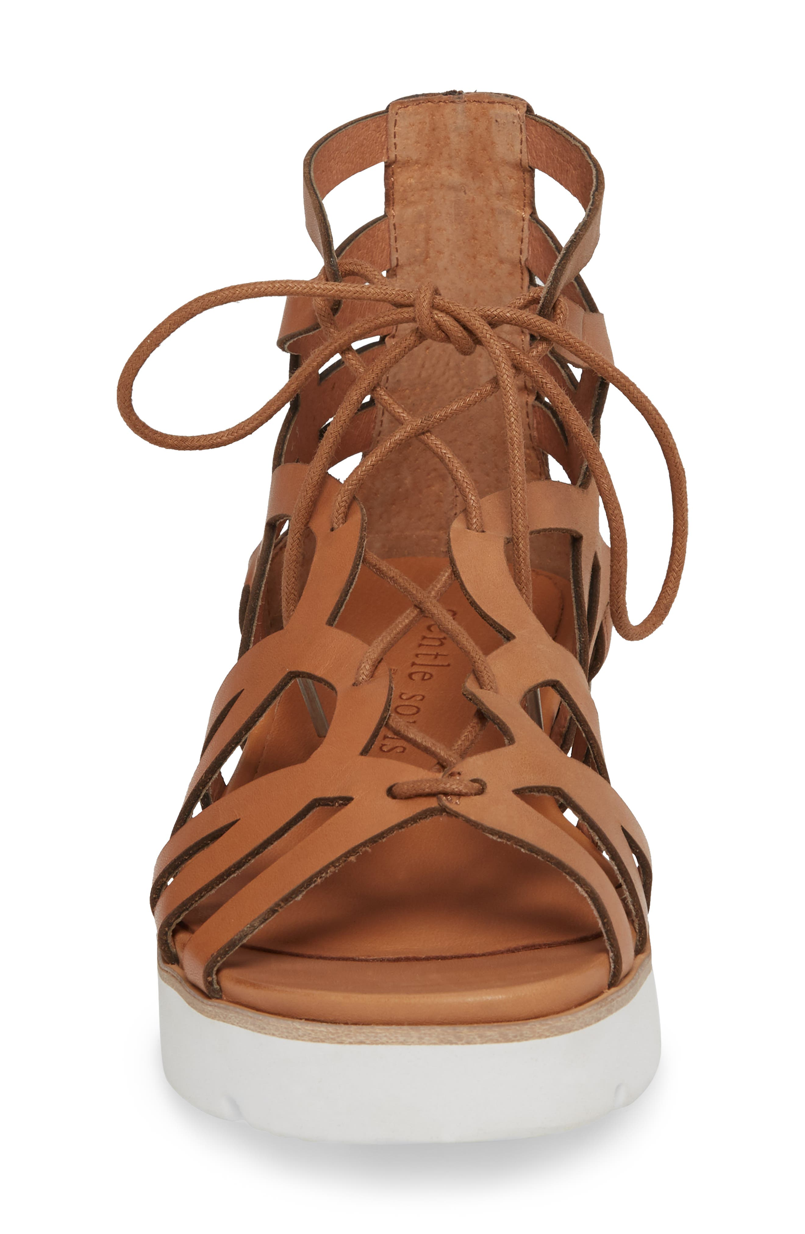 by Kenneth Cole Larina Lace-Up Sandal,                             Alternate thumbnail 4, color,                             Tan Leather
