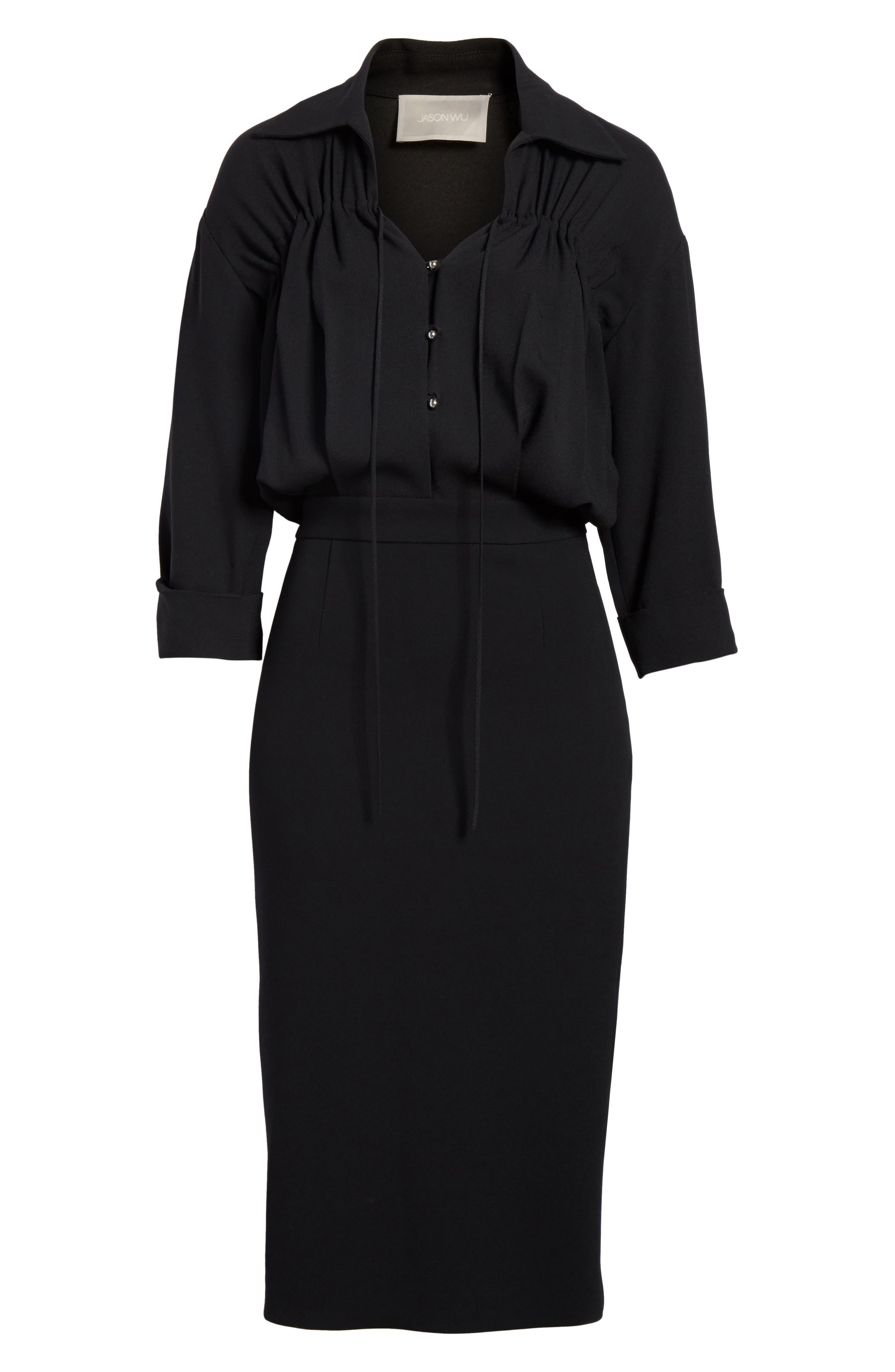 Ruched Blouson Dress,                             Alternate thumbnail 7, color,                             Black