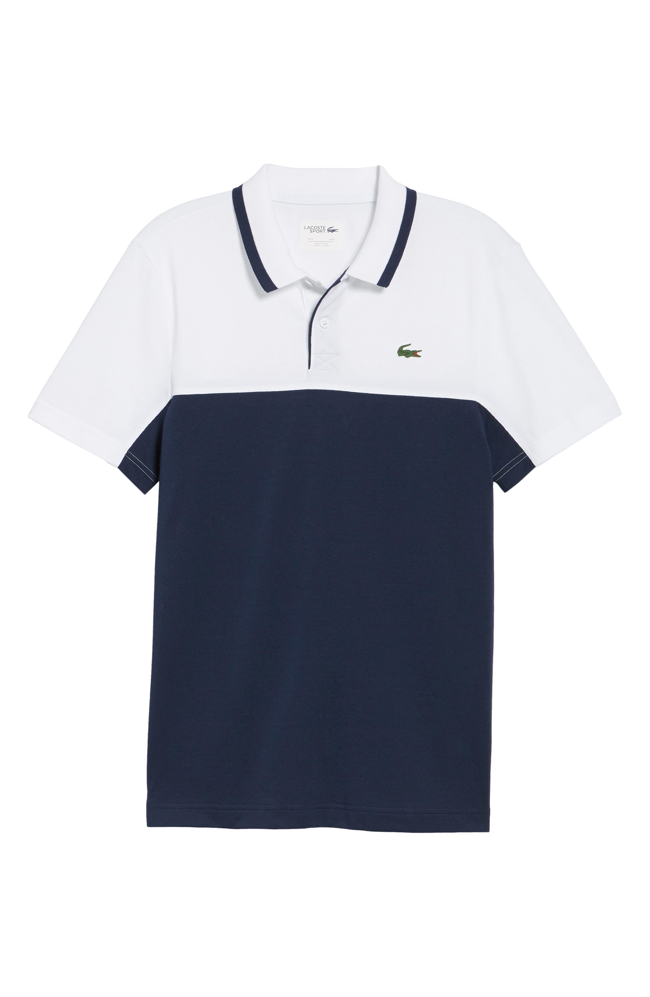 Piqué Cotton Blend Polo,                             Alternate thumbnail 6, color,                             White/ Navy Blue